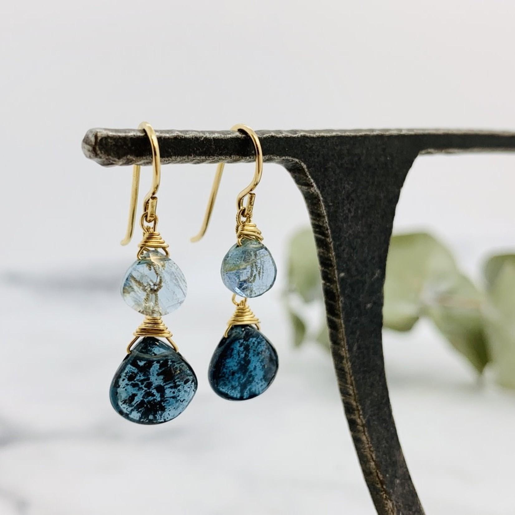 Handmade earrings with moss kyanite on chain, moss aquamarine, 14 k g.f.