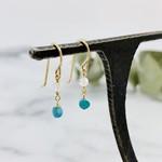 Handmade earrings with turquoise coin, rainbow moonstone, 14 k g.f.