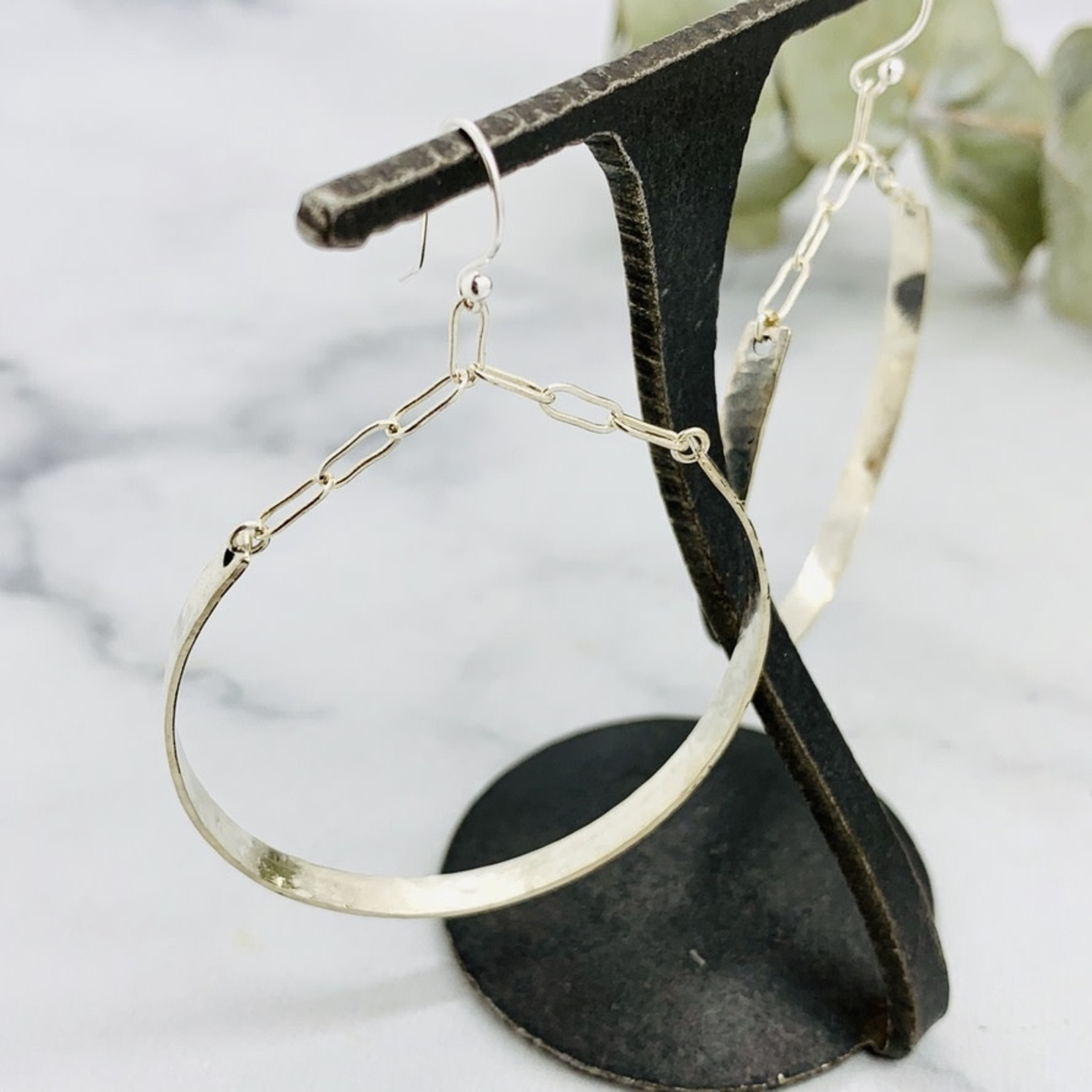 Handmade earrings with large hoop, hammered, french earwire