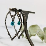 Handmade earrings with oxidized marquise hoop with dots, turquoise briolette