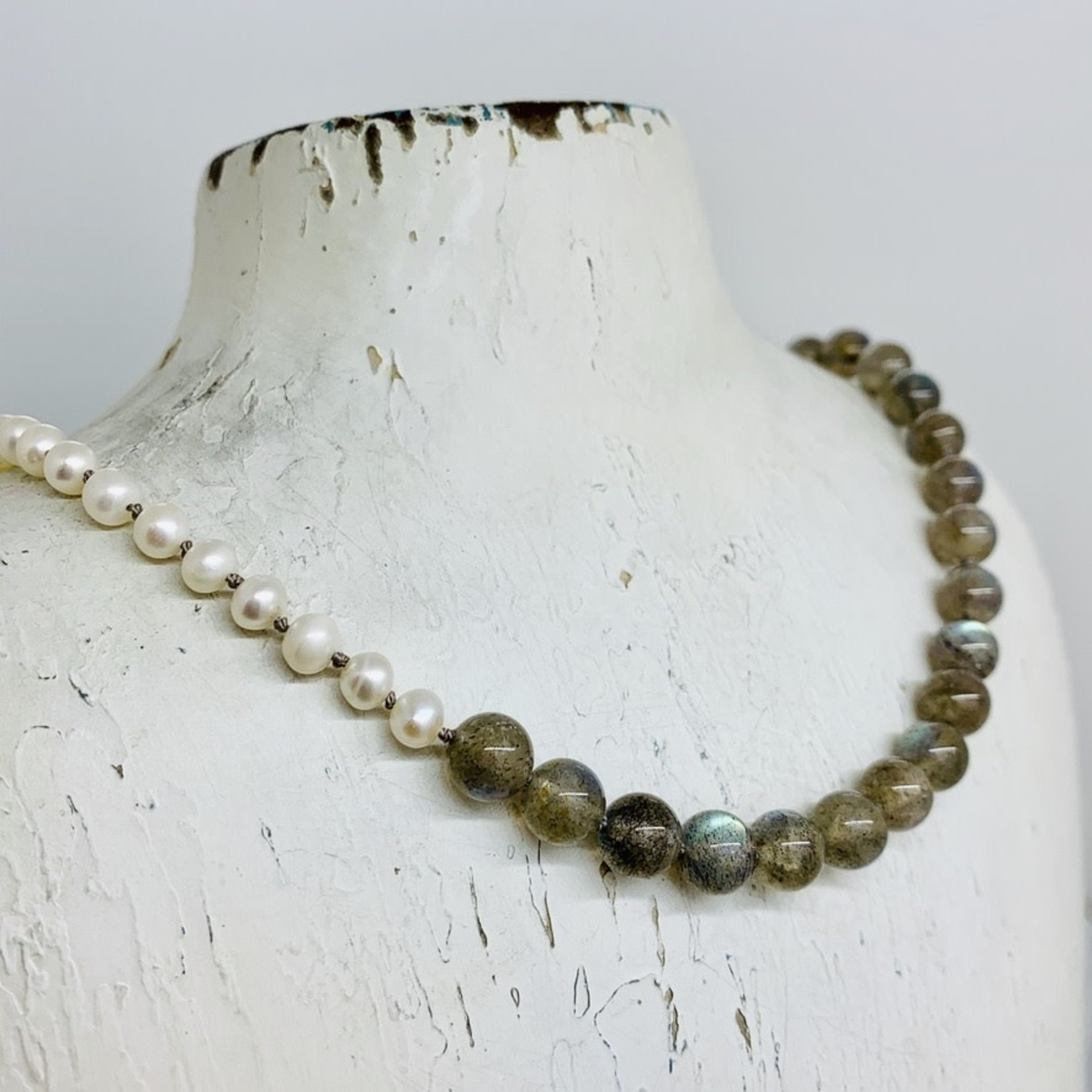 Handmade necklace with labradorite balls, white pearls knotted on grey silk, toggle