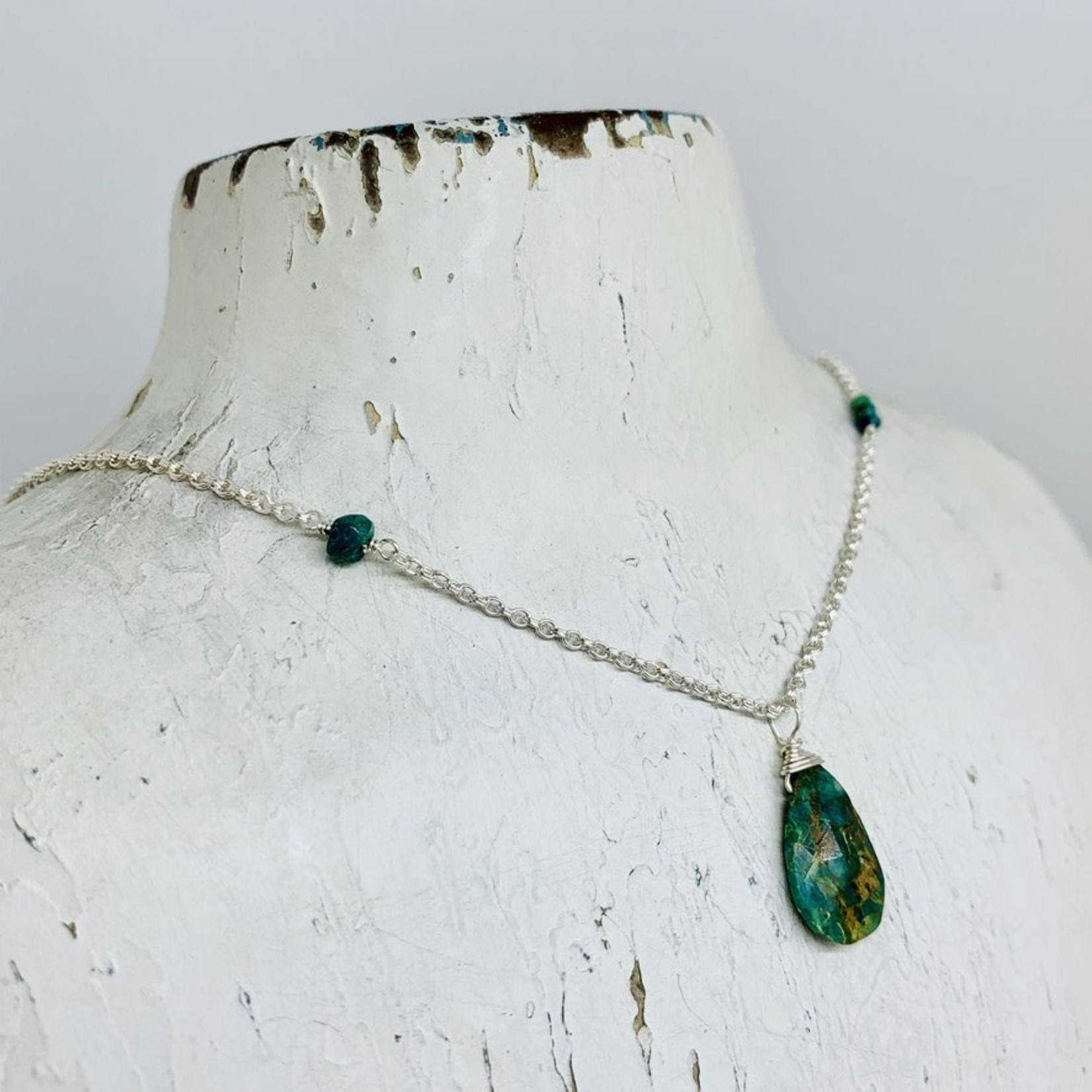 Handmade necklace with chrysocolla, stack 3 chrysocolla