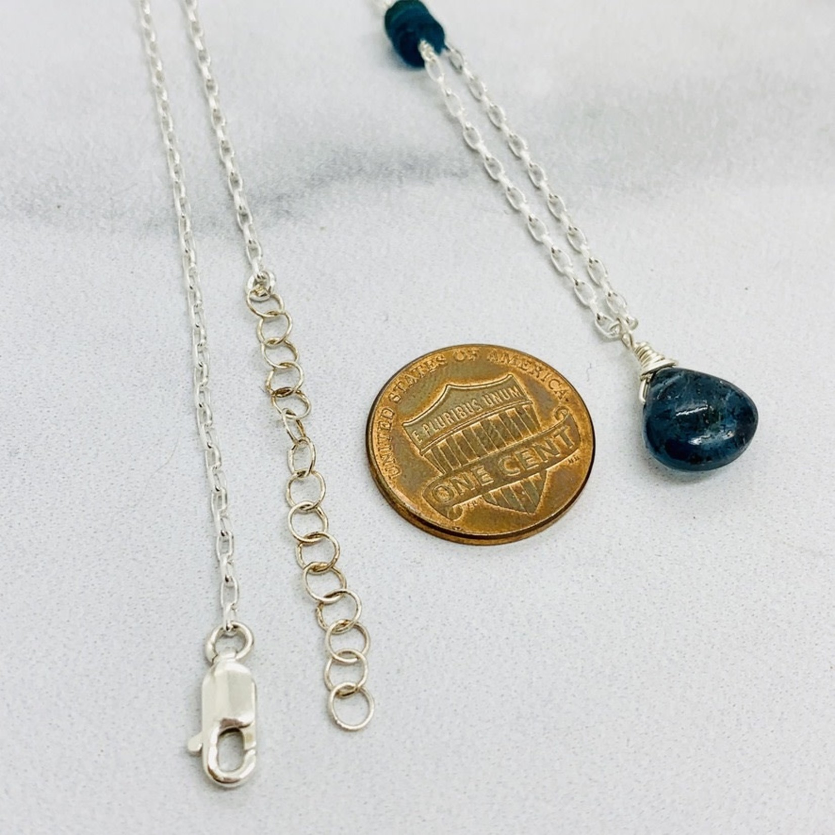 Handmade necklace with moss kyanite briolette, stack 3 roman sea glass