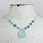 Handmade necklace with blue chalcedony briolette, stations of roman sea glass discs