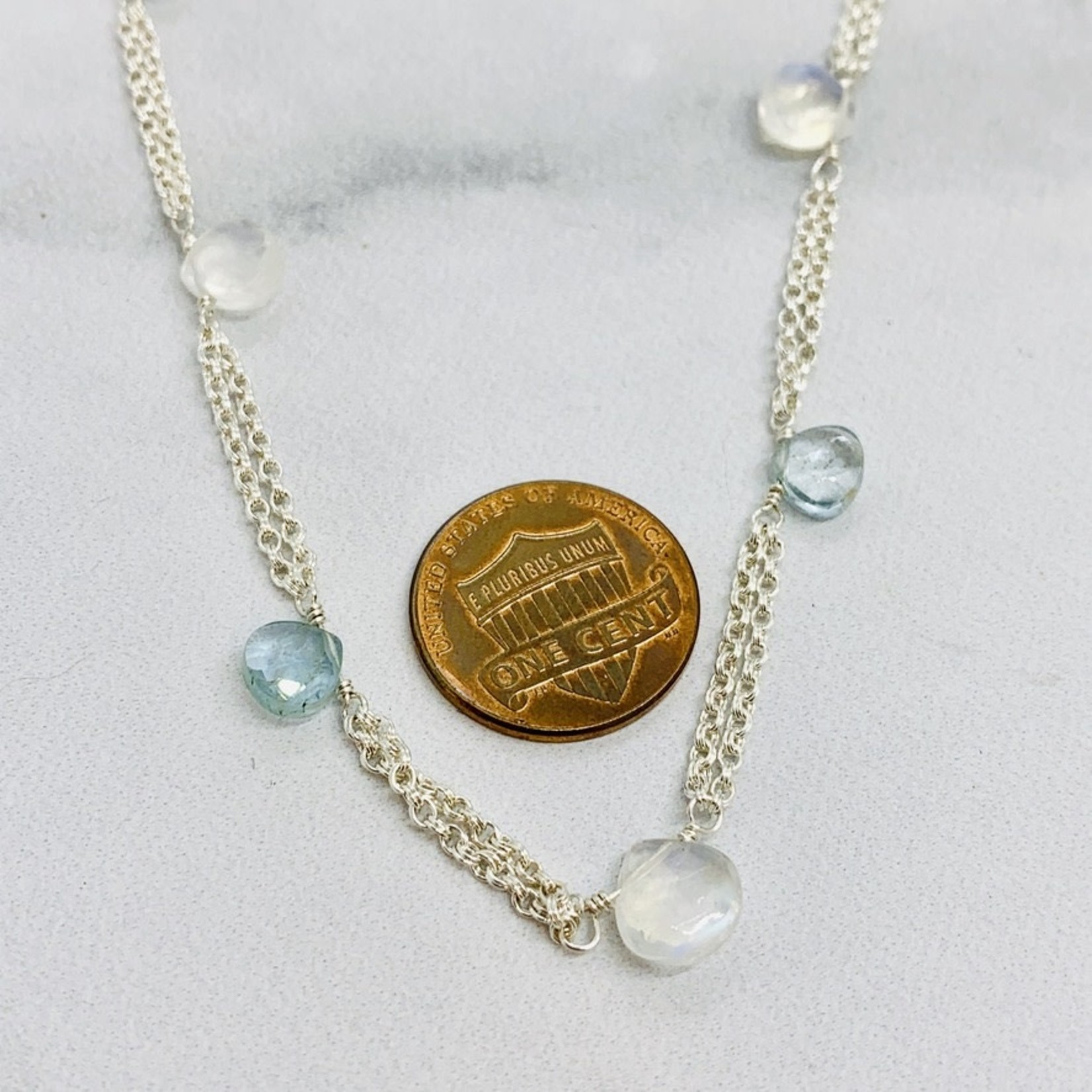 Handmade necklace with double chain, 5 moss aquamarine briolette, 4 rainbow moonstone briolette