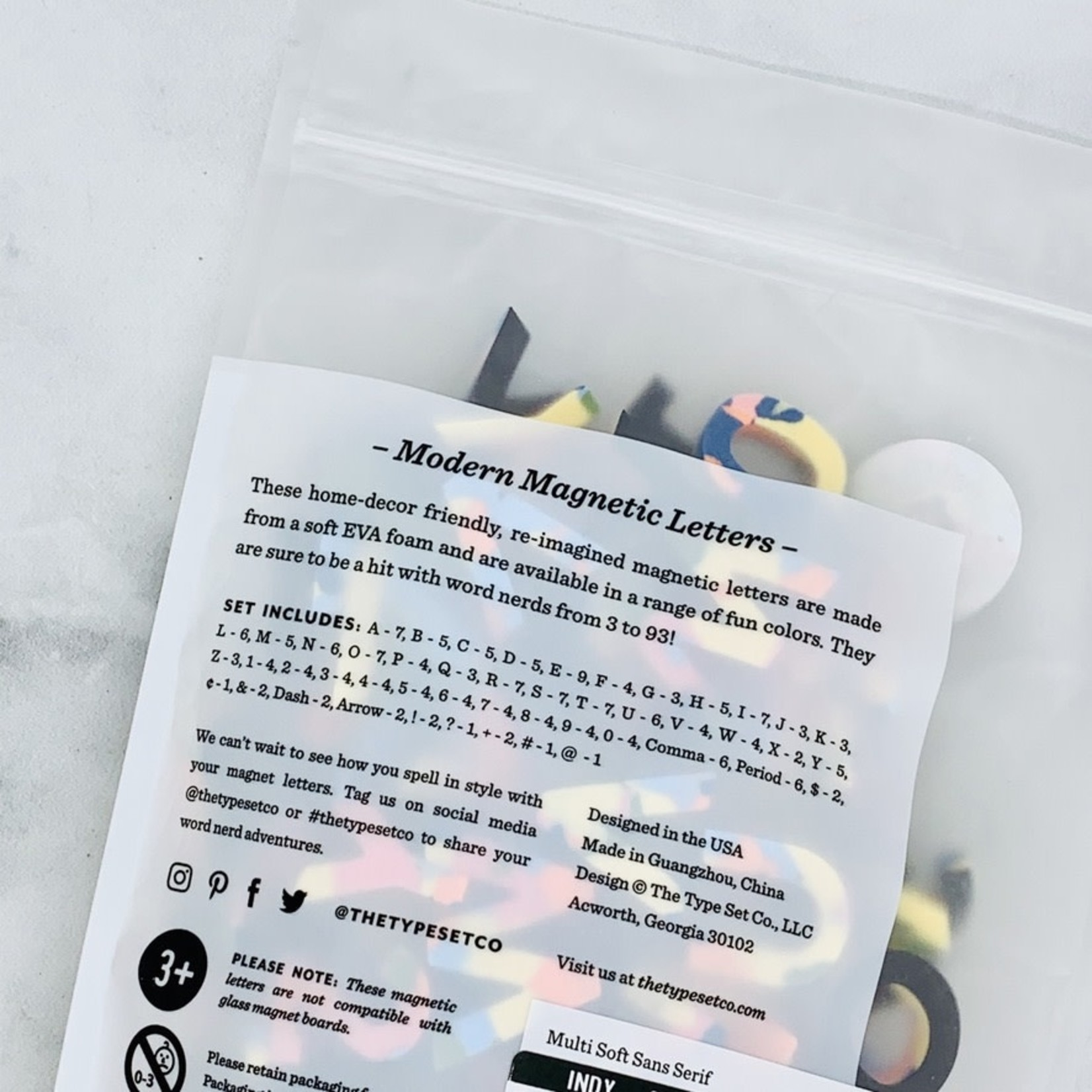 Serif Rainbow Confetti  Soft Magnetic Letters