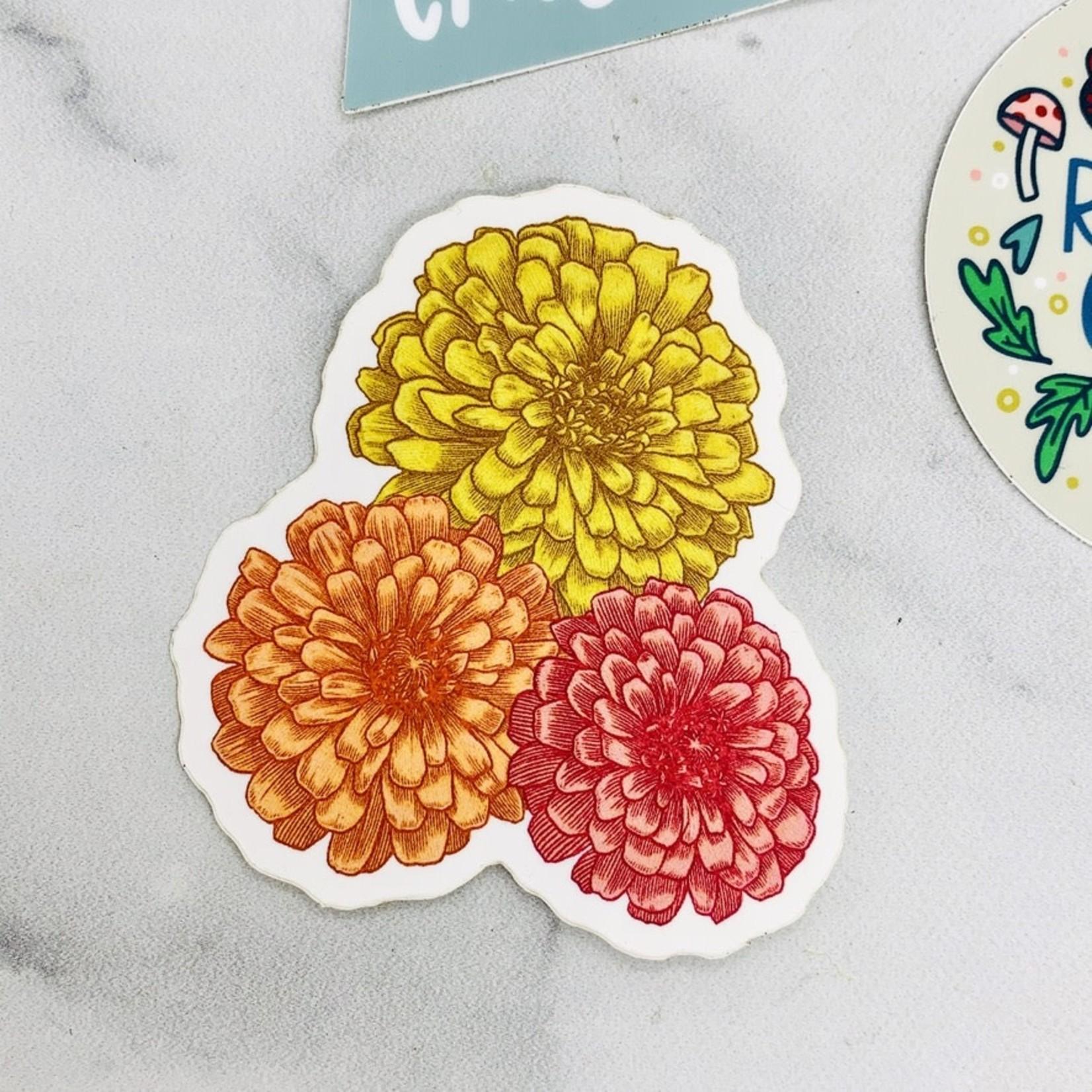 Hannah Lee Scott Zinnias Sticker