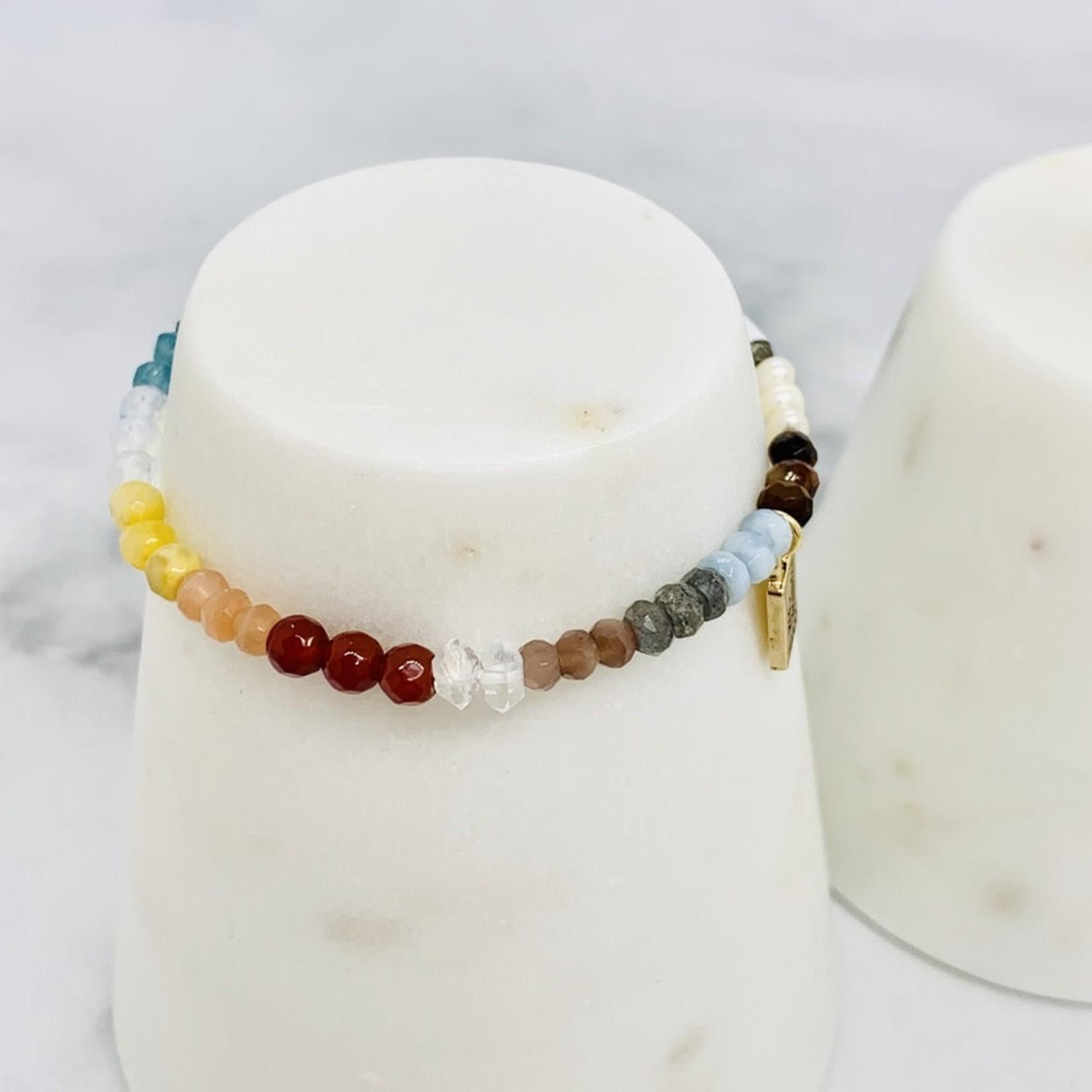 Native Gems Paradise Stretchy Stone bracelet in Rainbow