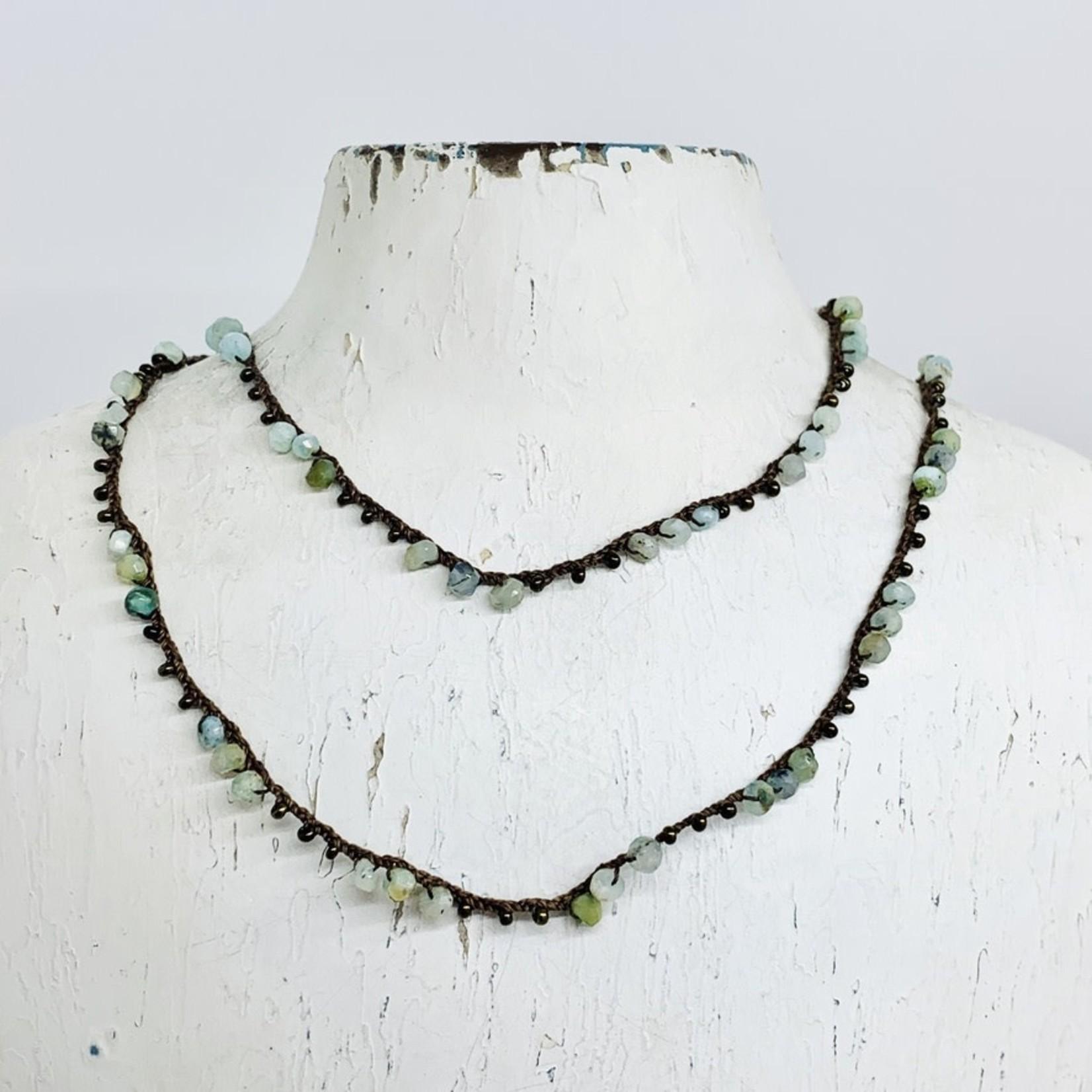 "Native Gems PERUVIAN OPAL Triple Stone wrap-necklace, 32"""