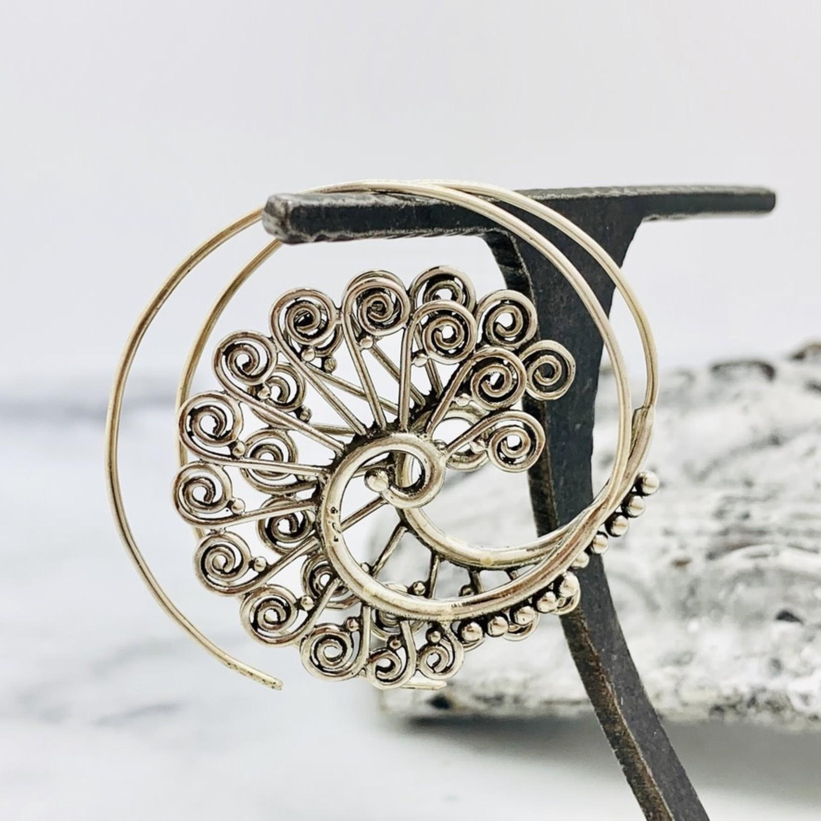 Baizaar Sterling silver warrior spiral earrings