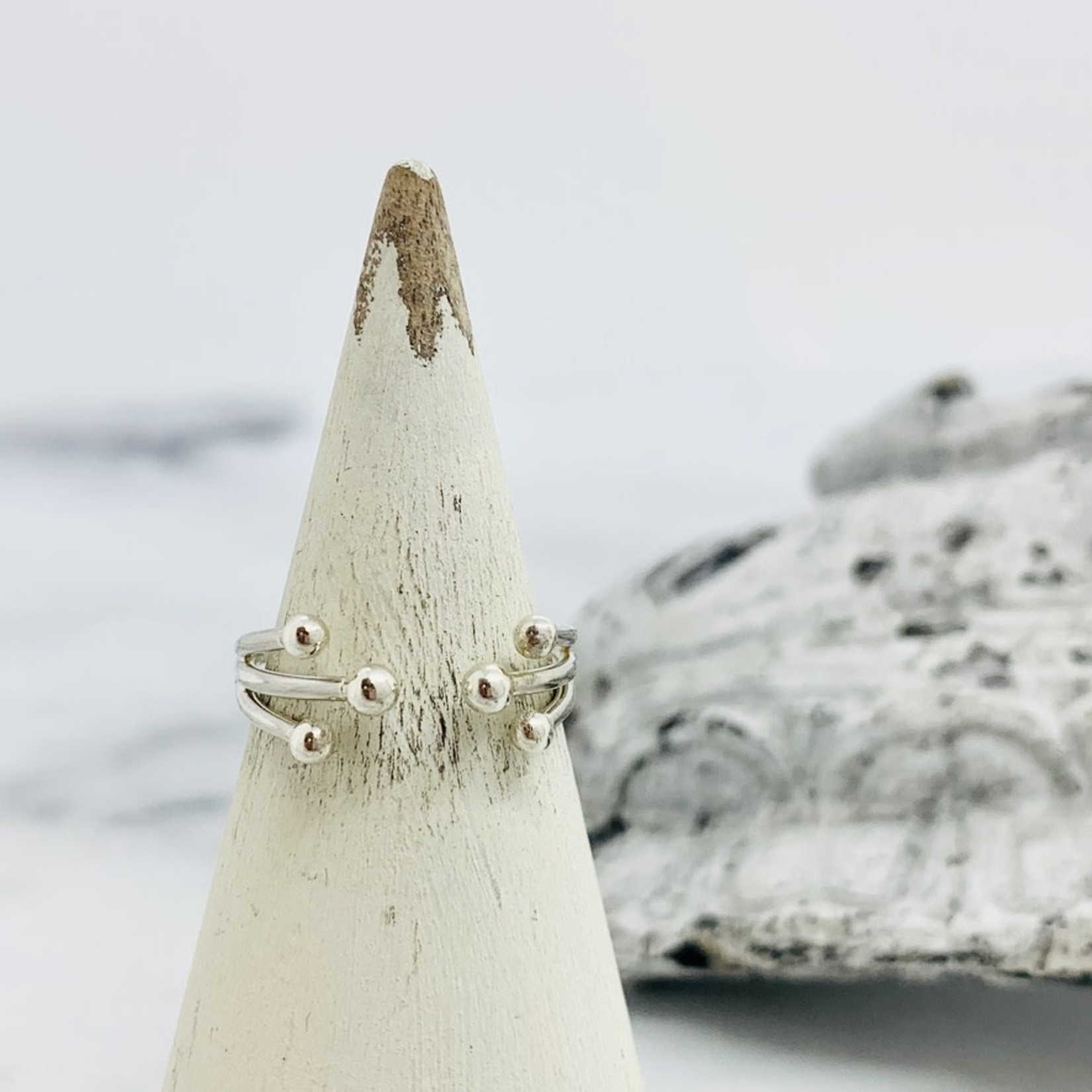 Nina Designs Sterling Silver Adjustable Ring with Granulations