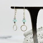 Handmade earrings with 8mm aqua chalcedony and sterling ring
