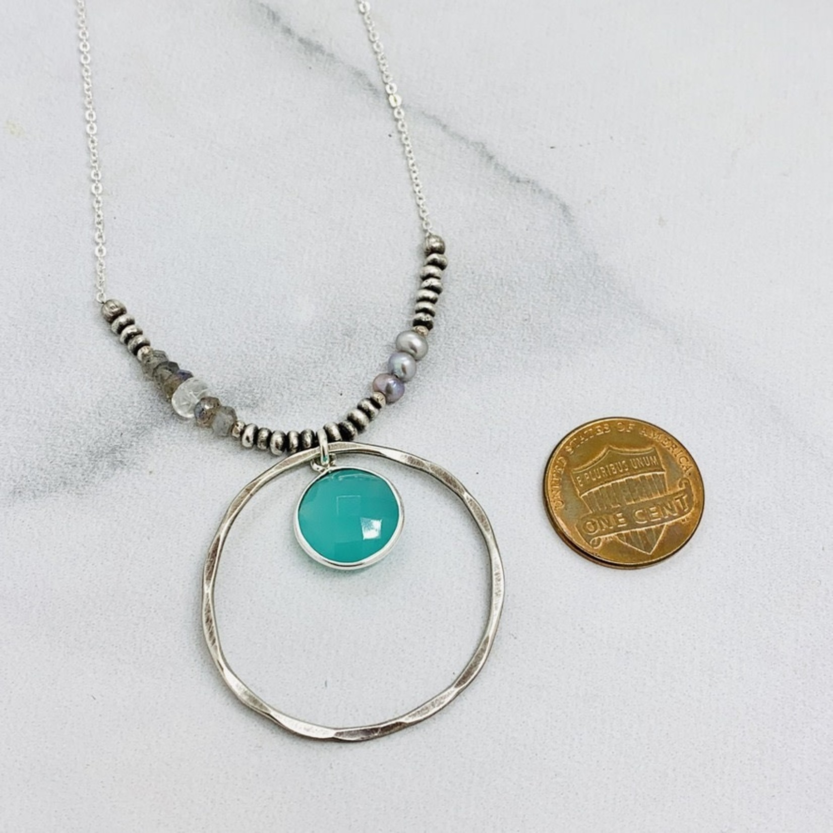 Handmade Necklace with Aqua Chalcedony and Sterling Circle with Silver Pearl, Labradorite and Moonstone