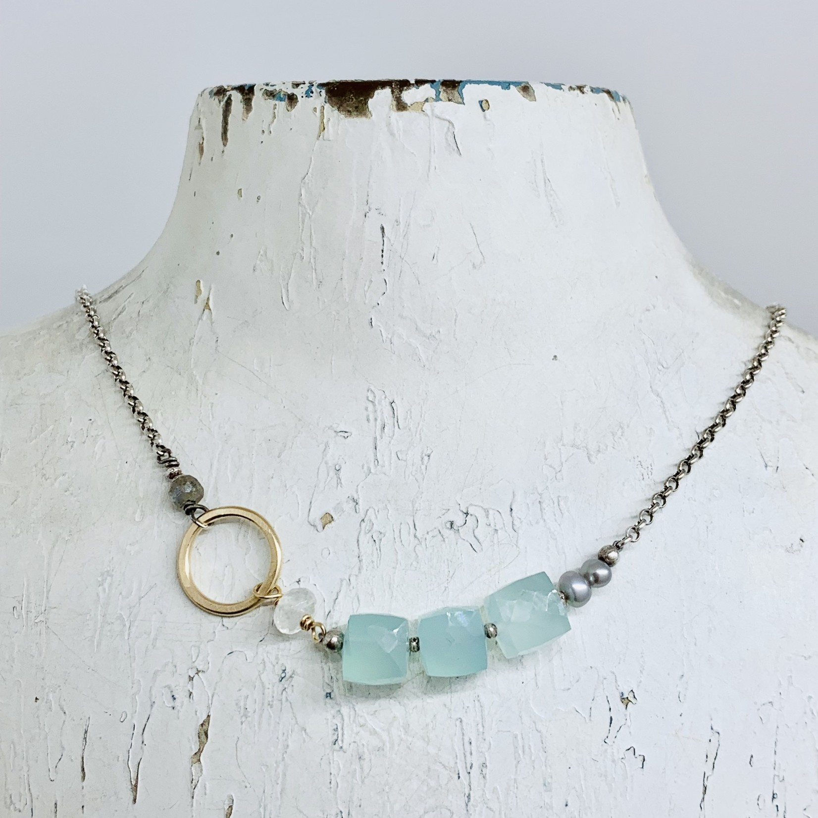 Handmade necklace with aqua chalcedony cube, 14kt gf circle and grey pearl on oxidized sterling chain
