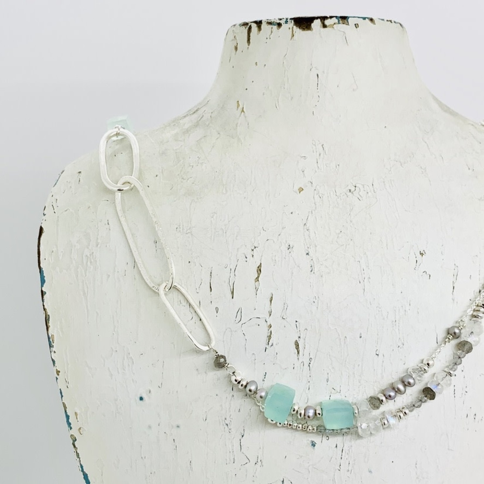 Handmade necklace with aqua chalcedony and grey pearl drape on  sterling link chain