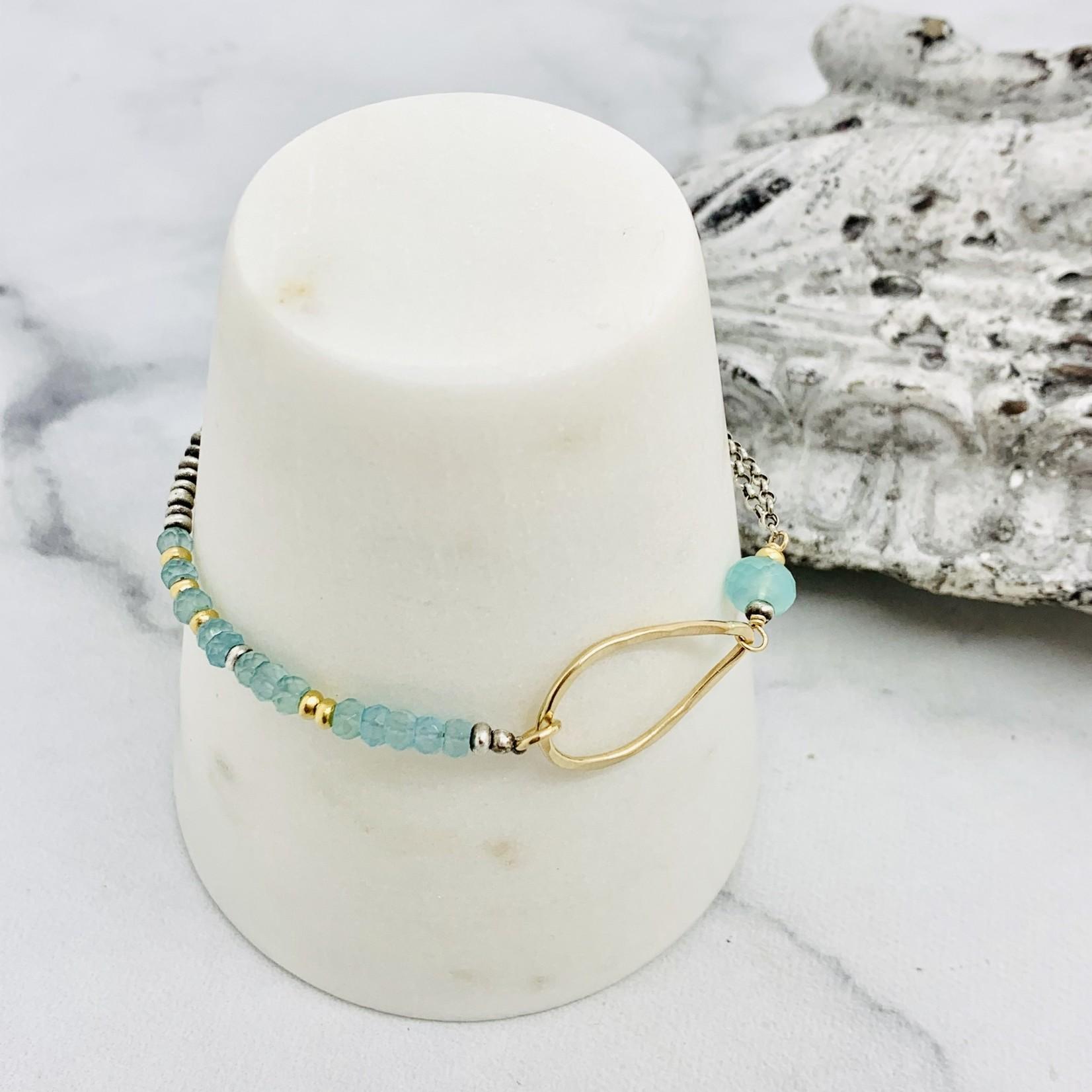 J&I Handmade bracelet with 14kt gf teardrop on aqua chalcedony and sterling chain