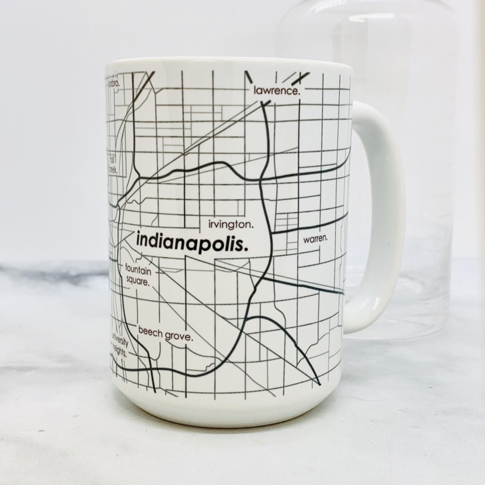 Indianapolis Map Glassware Ceramic Mug 15oz