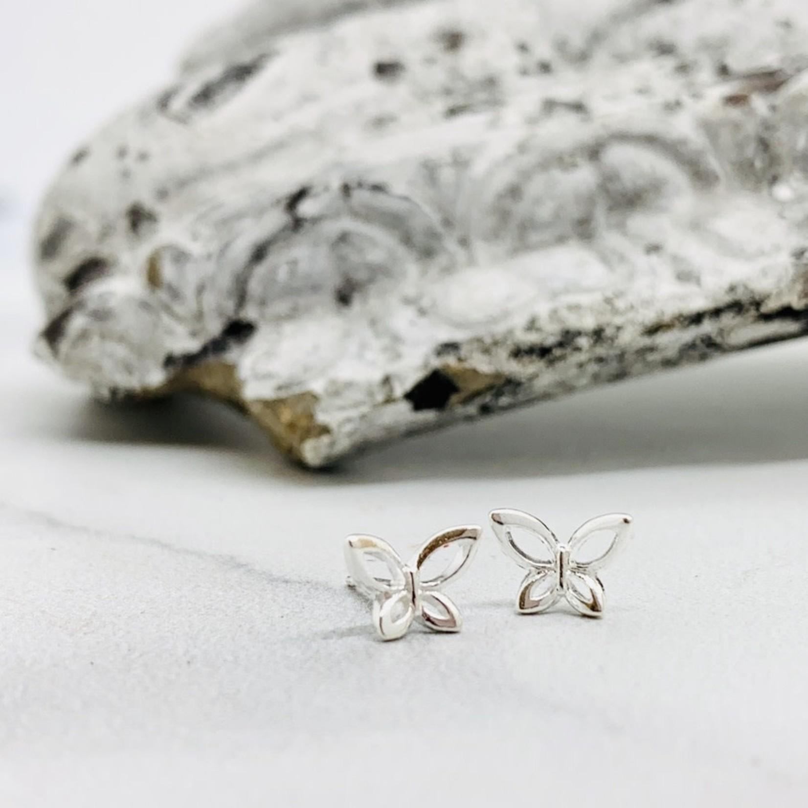 Open Butterfly Stud Earrings, Sterling Silver