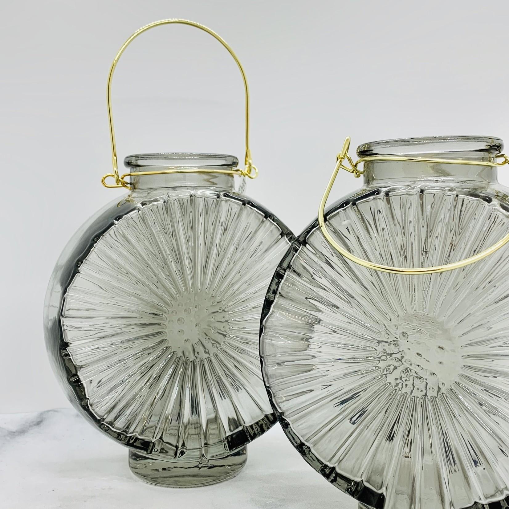 "6L x 3""W x 5""H Embossed Glass Vase w/ Metal Handle"
