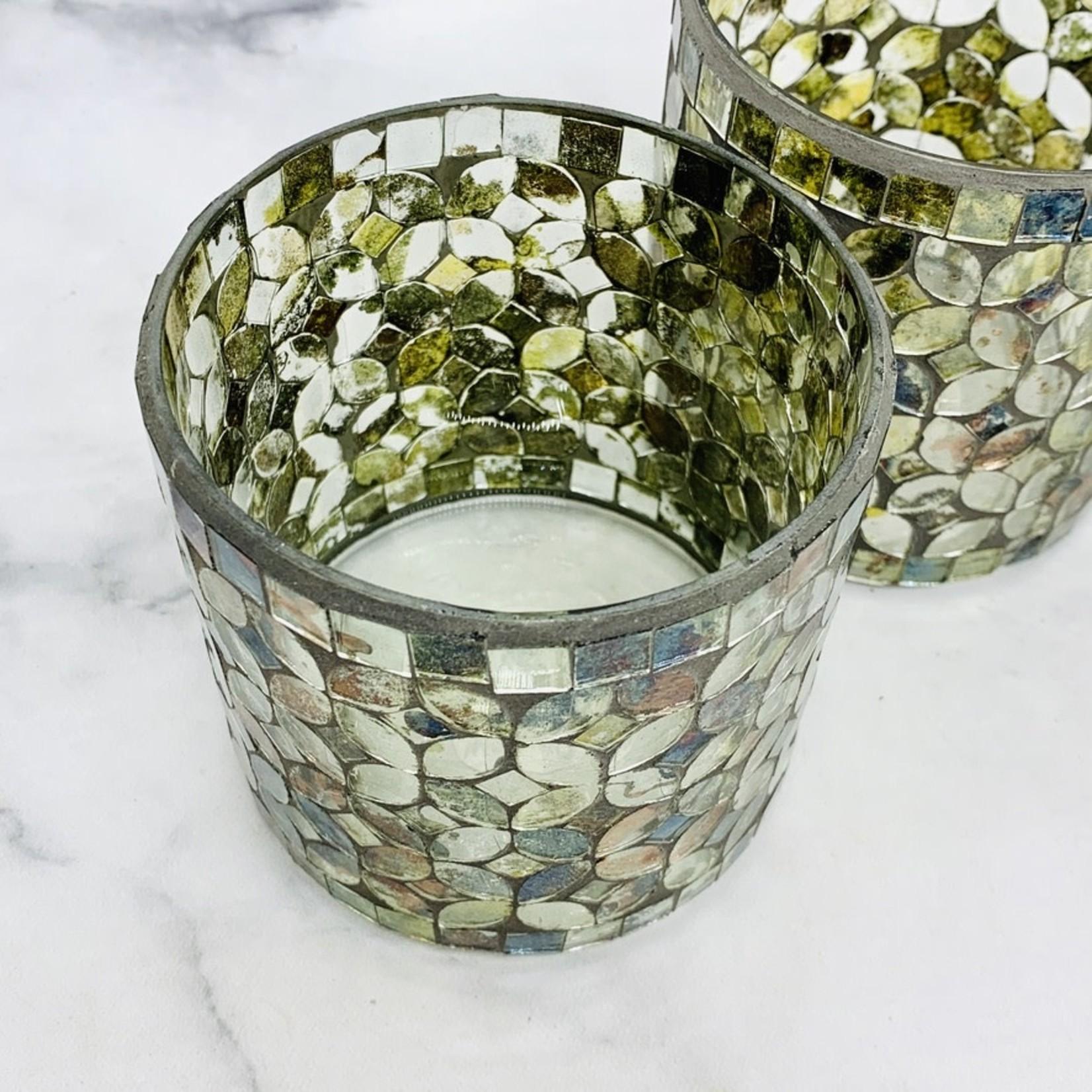 Mosaic Mercury Glass Votive Holder