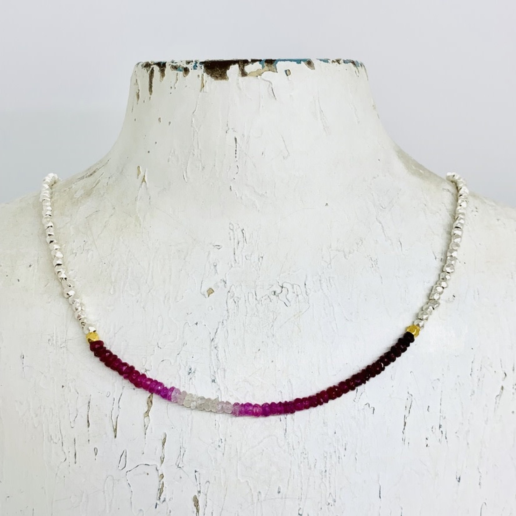 """Ombre Stone Section Necklace with Silver Hex Beaded Chain, 16-18"""""""