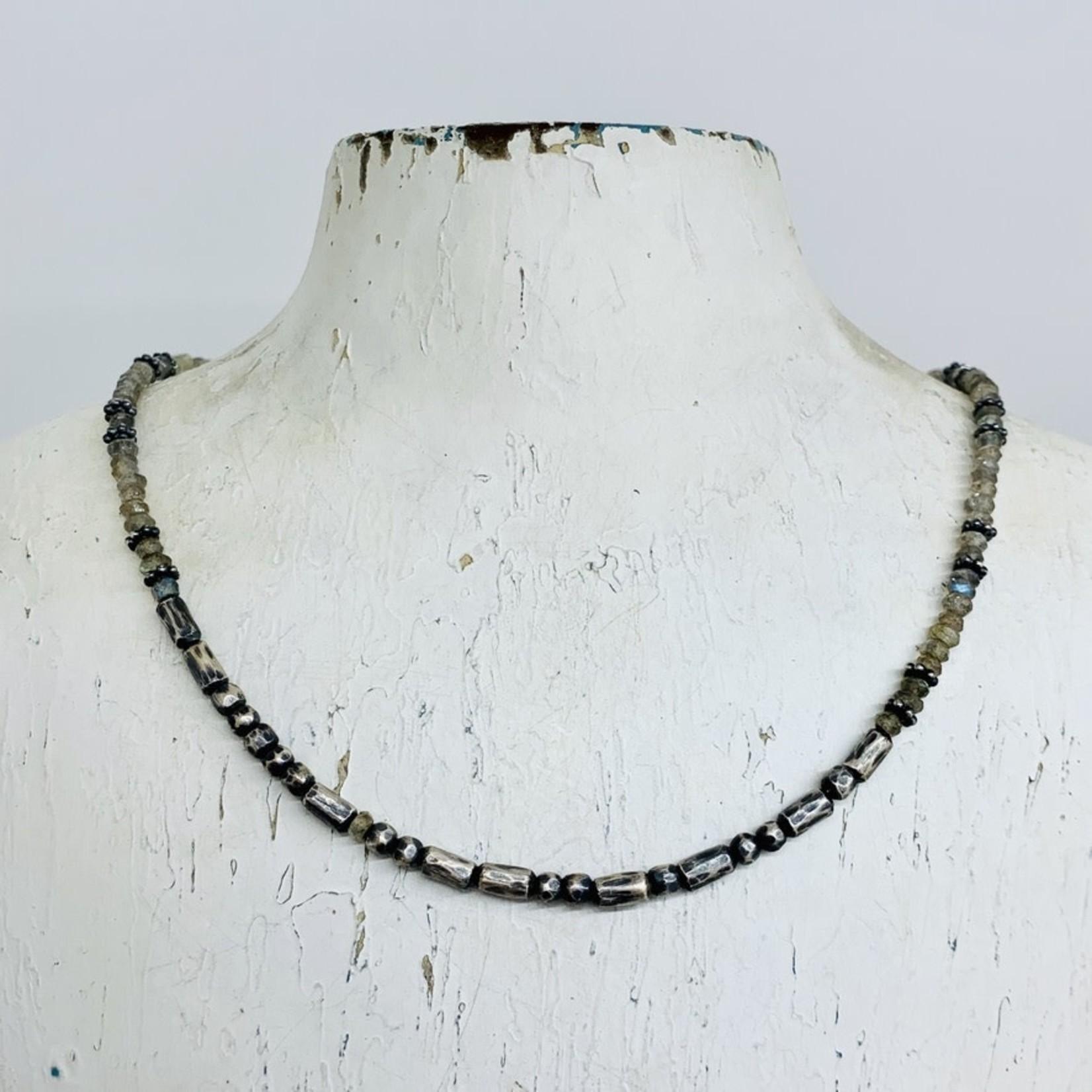 "Silver Beaded Carpe Diem Morse Code with Tiny Gemstone Necklace Labradorite 16-18"""