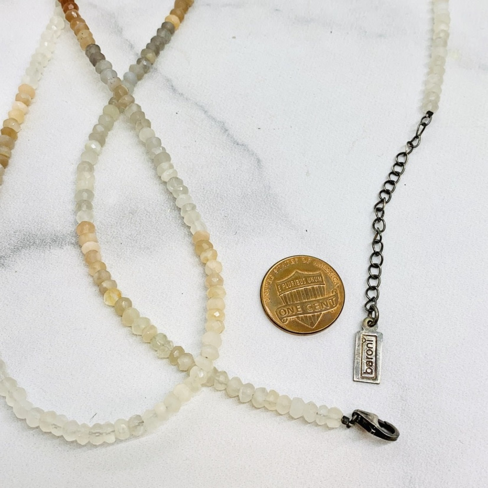 "Silver Beaded Carpe Diem Morse Code with Tiny Gemstone Necklace Shaded Moonstone 32"""