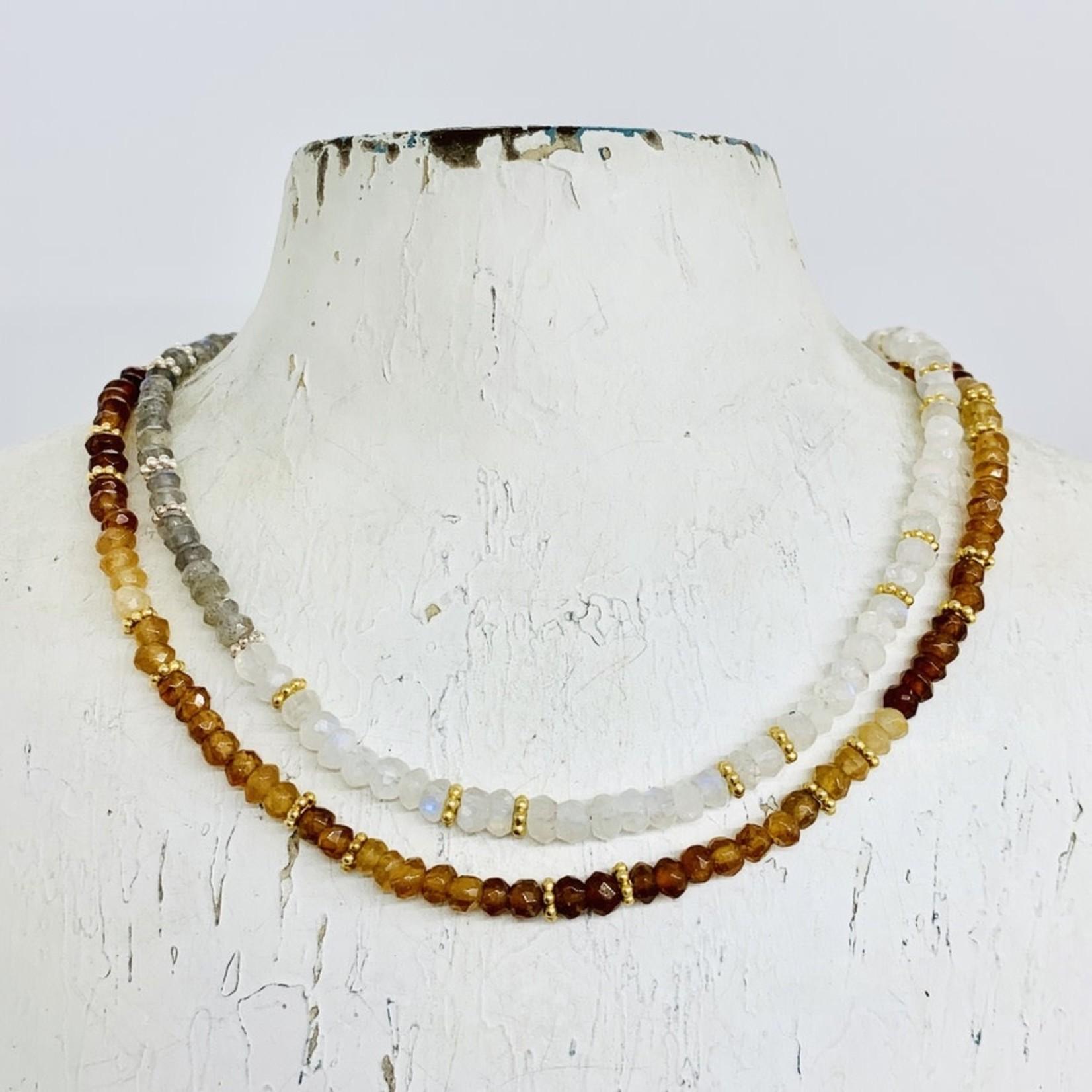 "32"" Tiny Gemstone Beaded Necklace Hessonite / Moonstone / Labradorite"