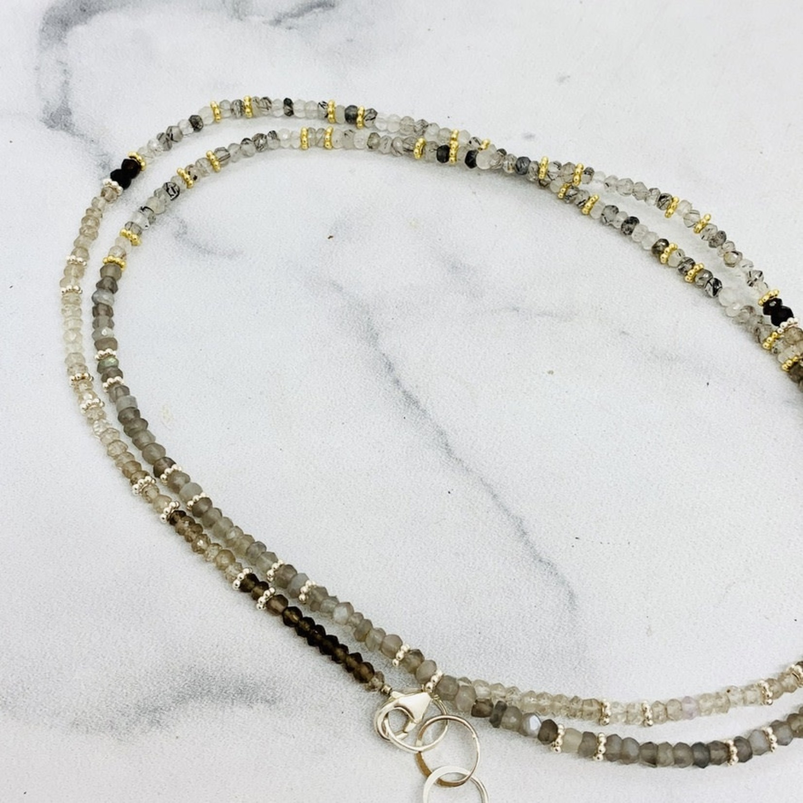 "32"" Tiny Gemstone Beaded Necklace Moonstone / Smokey Qtz/ Rutile Qtz"