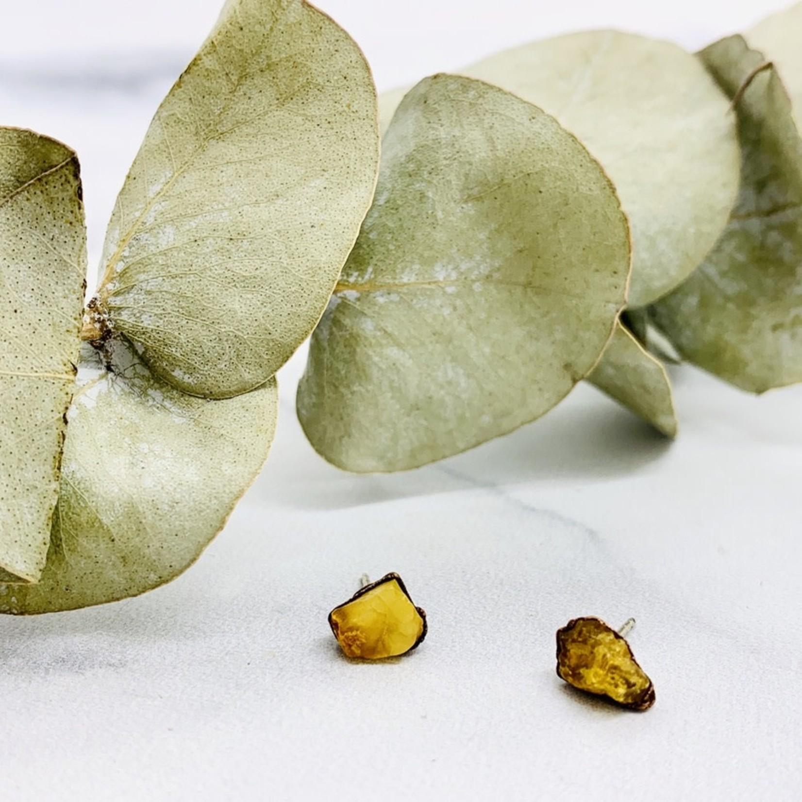 Raw Amber Chunk Stud Earrings