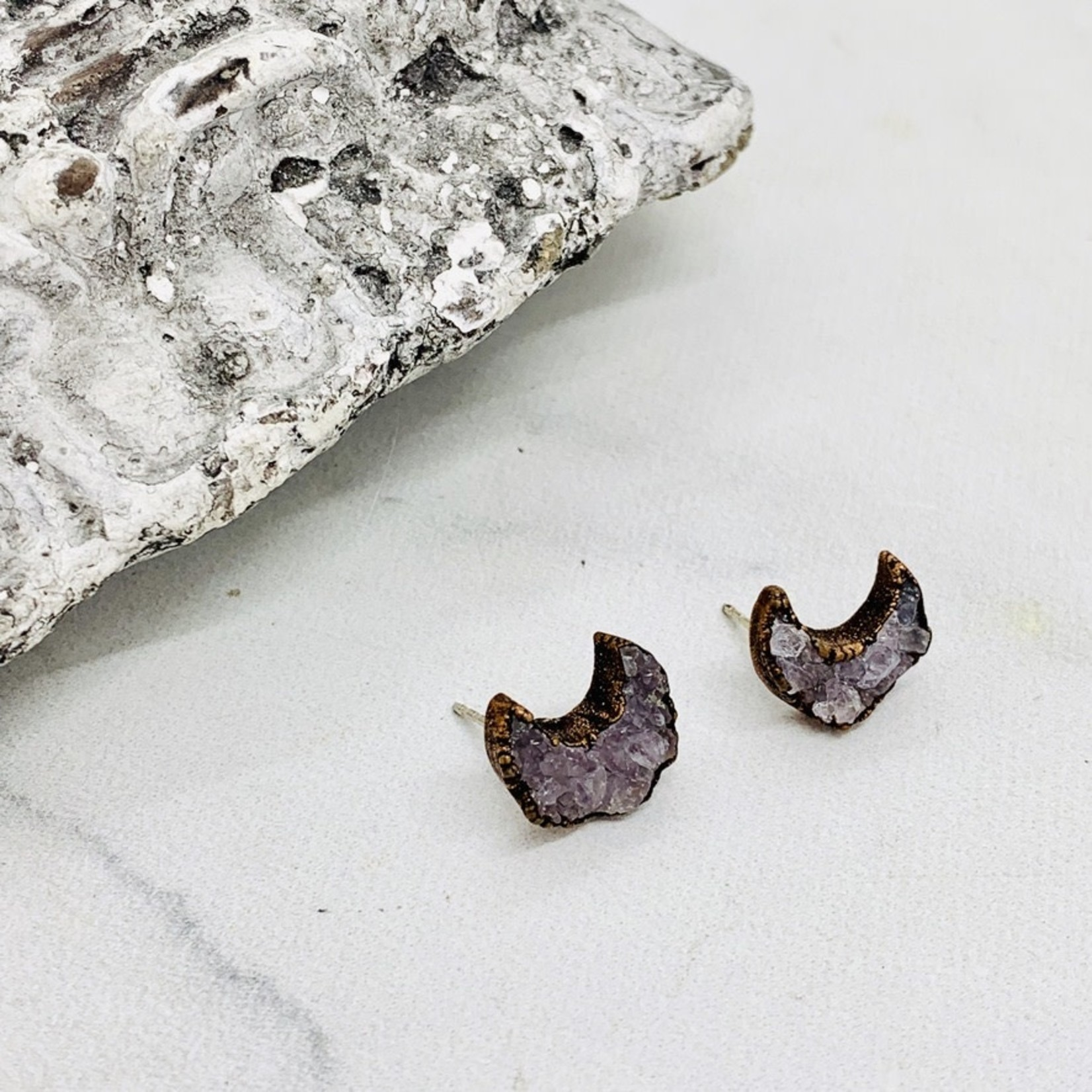 Electroplated Copper Druzy Crescent Moon Stud Earrings
