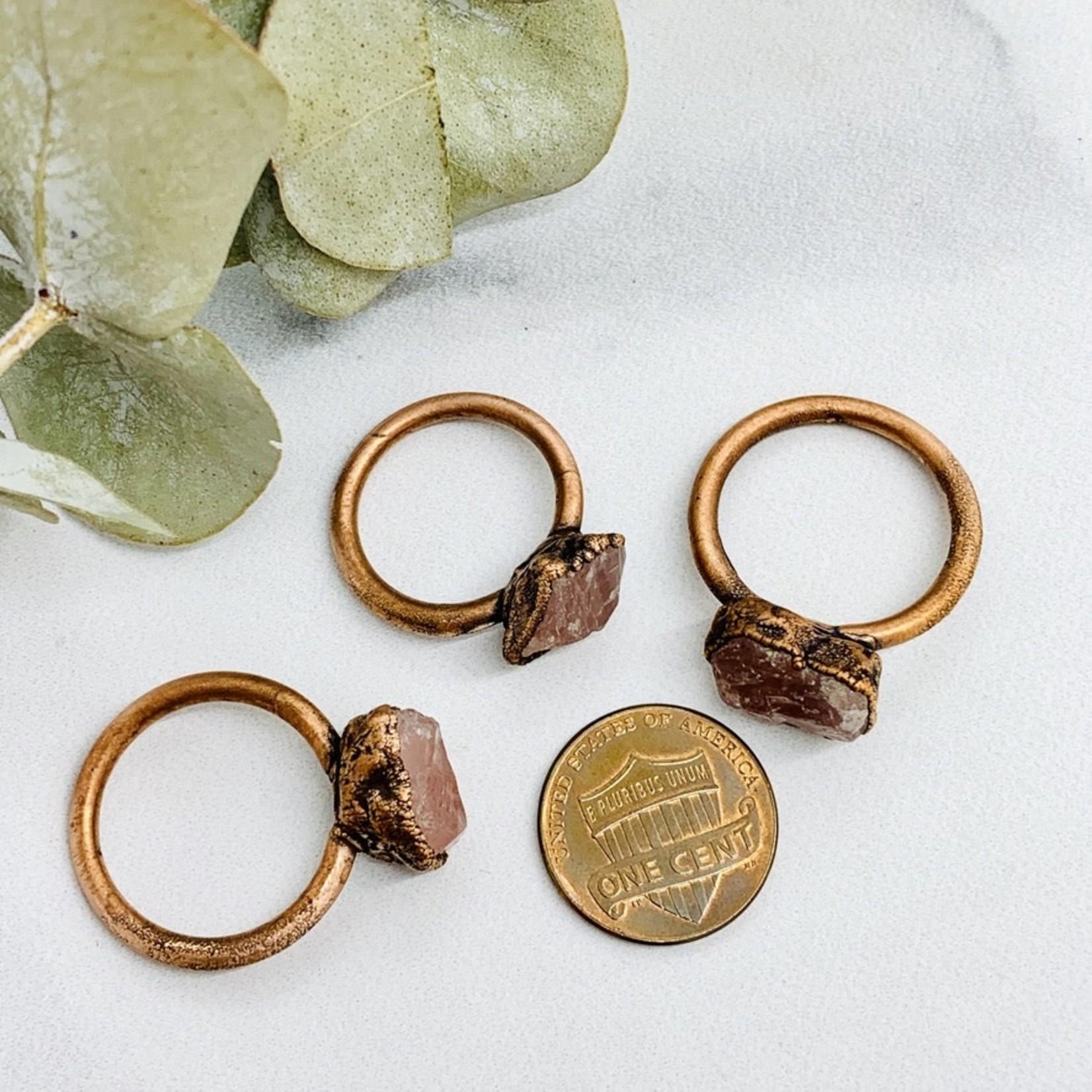 Large Raw Rose Quartz Electroformed Copper Ring