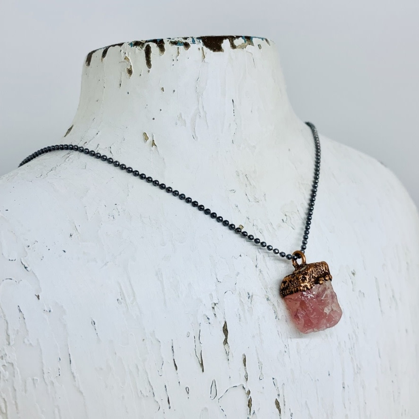 """Raw Rose Quartz Electroformed Druzy Pendant on 18"""" Oxidized Faceted Ball Chain Necklace"""