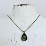 "Labradorite with Copper Bezel pendant on 18"" Oxidized Silver Necklace"