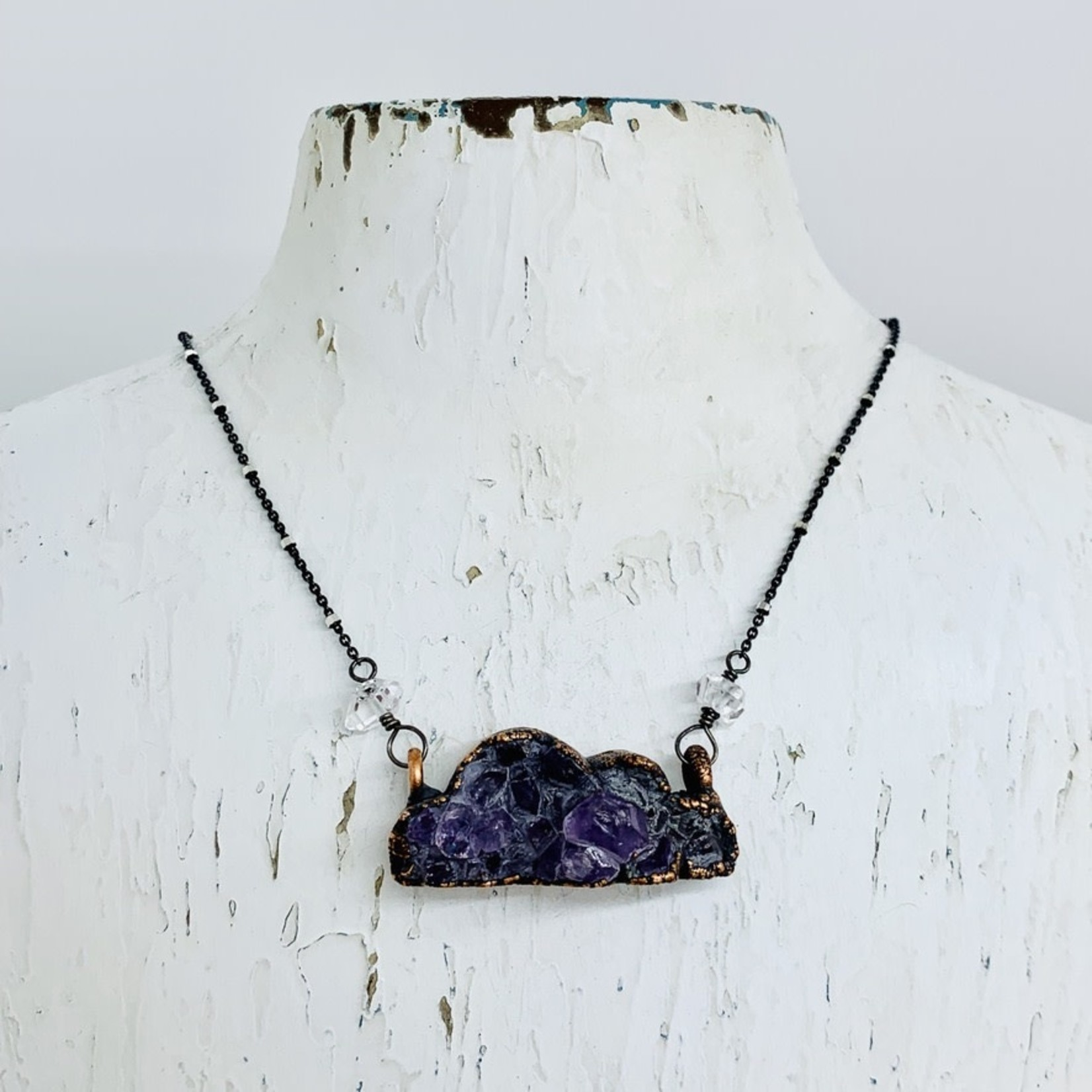 """Druzy Cloud Necklace on 24"""" Silver Satellite Chain Necklace"""