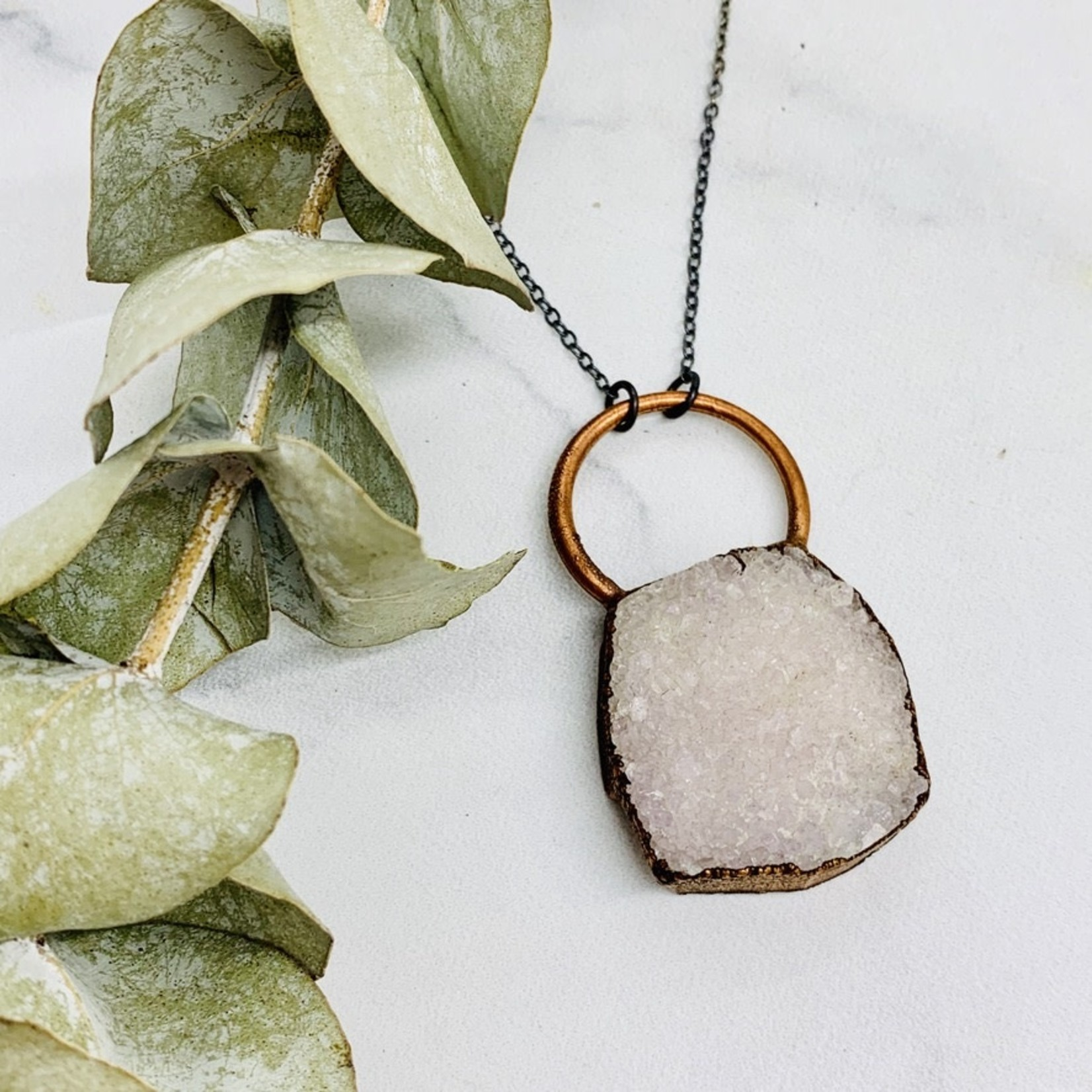 """Large Raw Druzy with Copper Bezel and Ring on 30"""" Oxidized Ombre Sterling Silver Chain Necklace"""