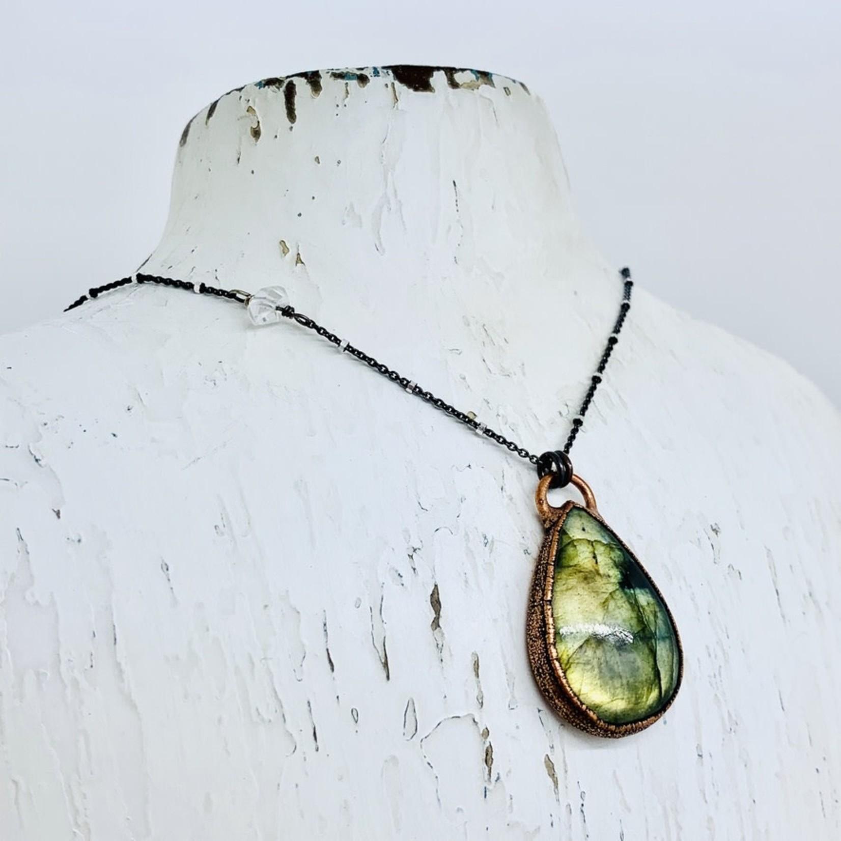 """Copper Bezel Set Labradorite Teardrop on 24"""" Sterling Silver Chain"""