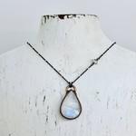 "Copper Bezel Set Moonstone Teardrop on 24"" Sterling Silver Chain - one of the June Birthstones"