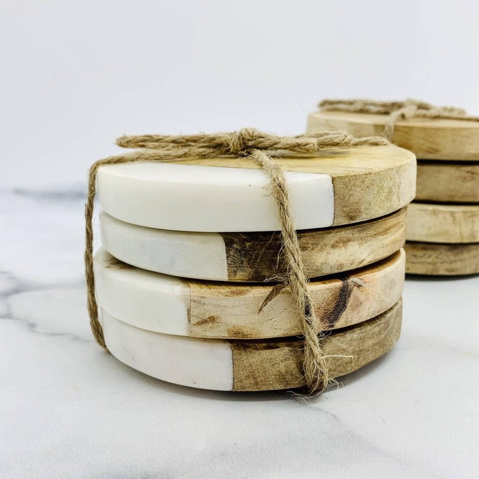 "S/4 4"" Round Marble Coasters"