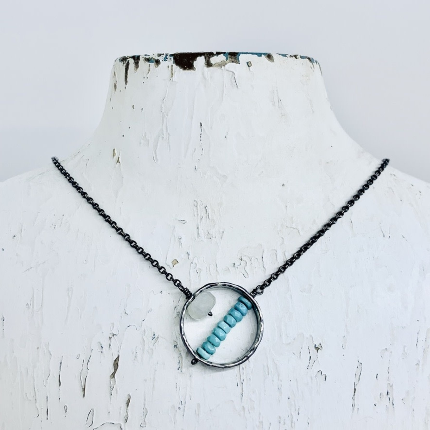 EVANKNOX Handmade Necklace with oxidized hammered ring, rainbow moonstone rondelle, stack sleeping beauty turquoise