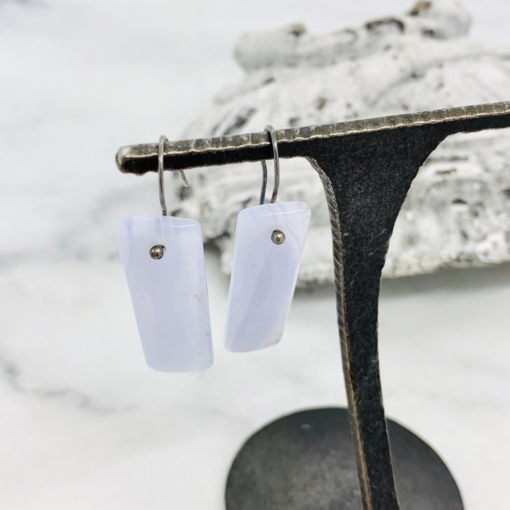 EVANKNOX Handmade Earrings with blue lace agate rectangles