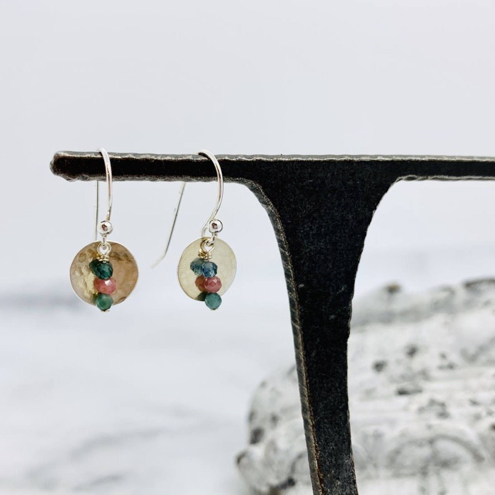 EVANKNOX Handmade Earrings with hammered disc, stack 3 tourmaline