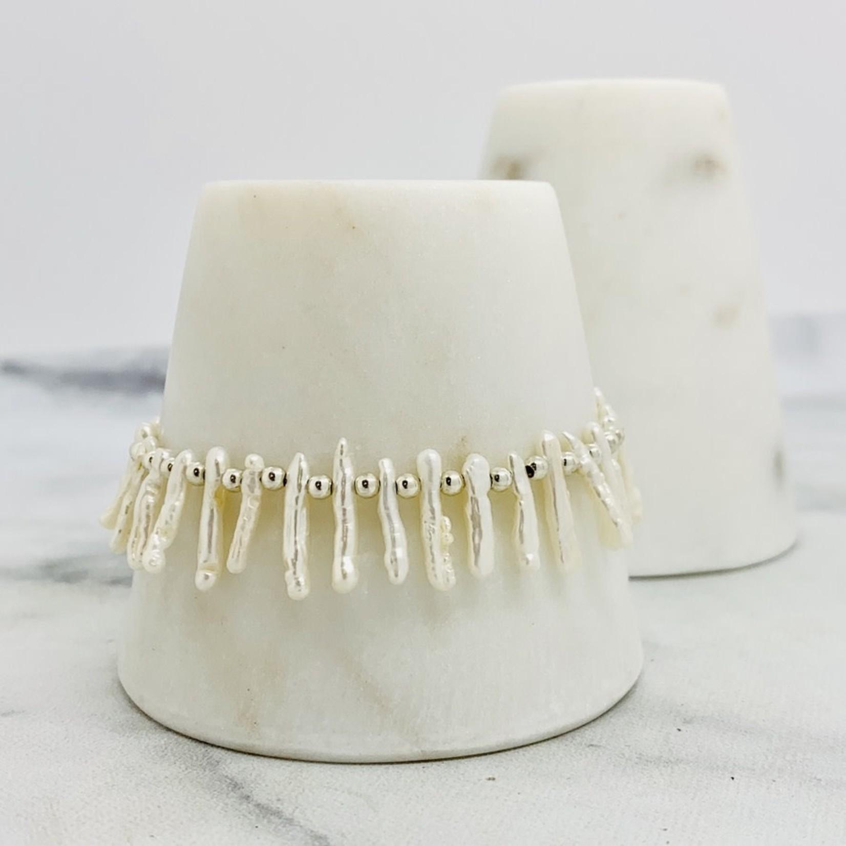 EVANKNOX Handmade Bracelet with white stick pearls, silver balls between