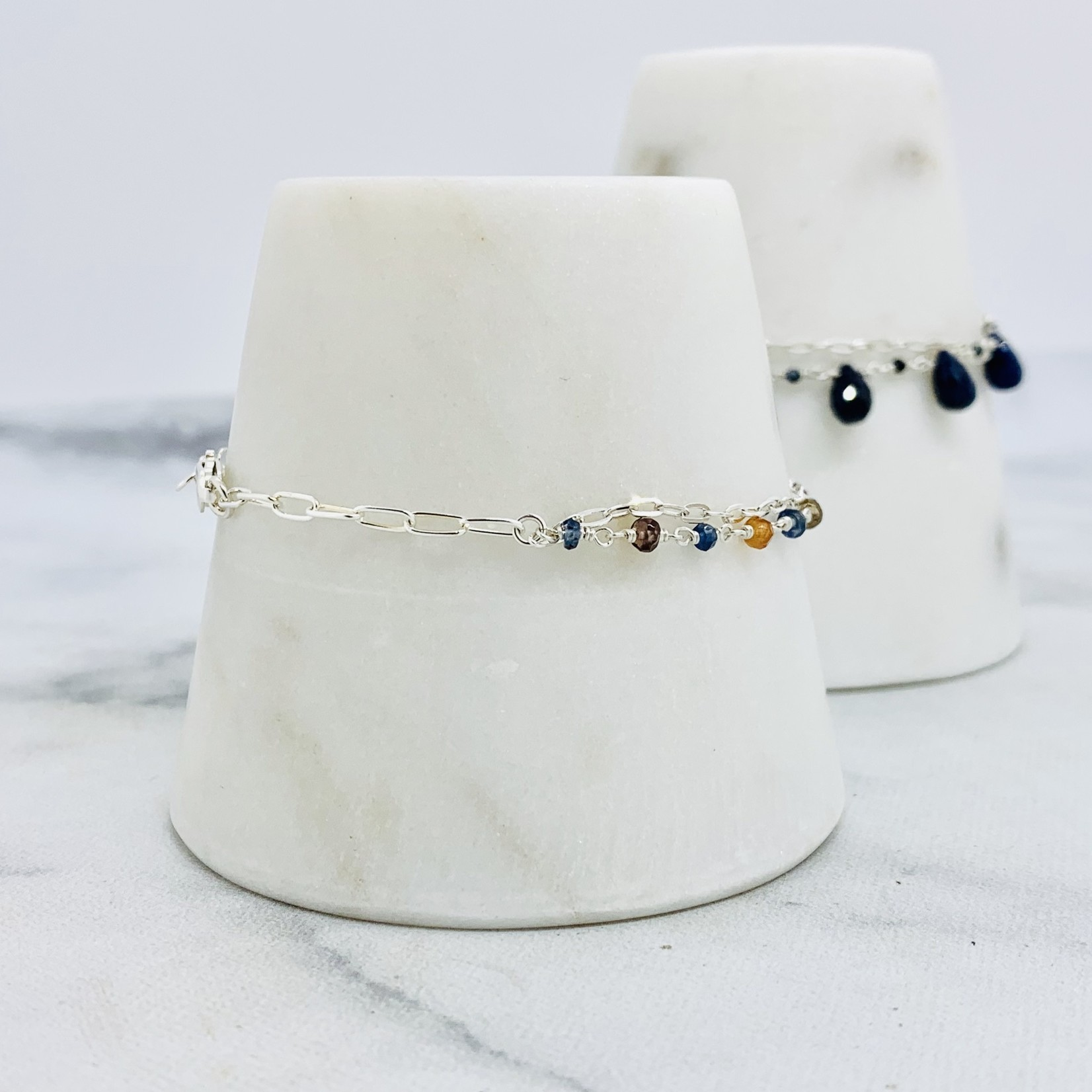 EVANKNOX Handmade Bracelet with connected multi-color sapphires, 1/2 double