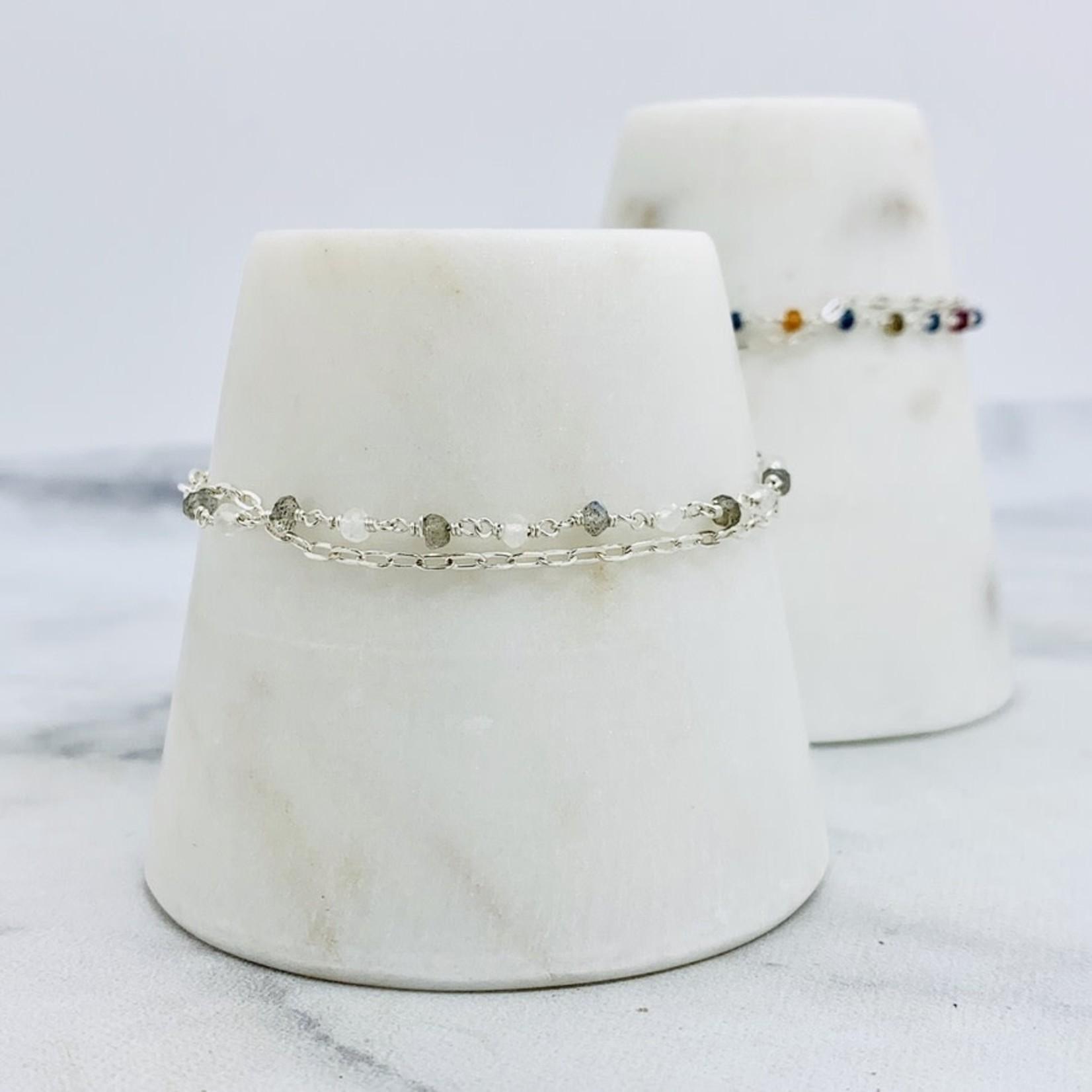 EVANKNOX Handmade Bracelet with connected labradorite, rainbow moonstone, 1/2 double