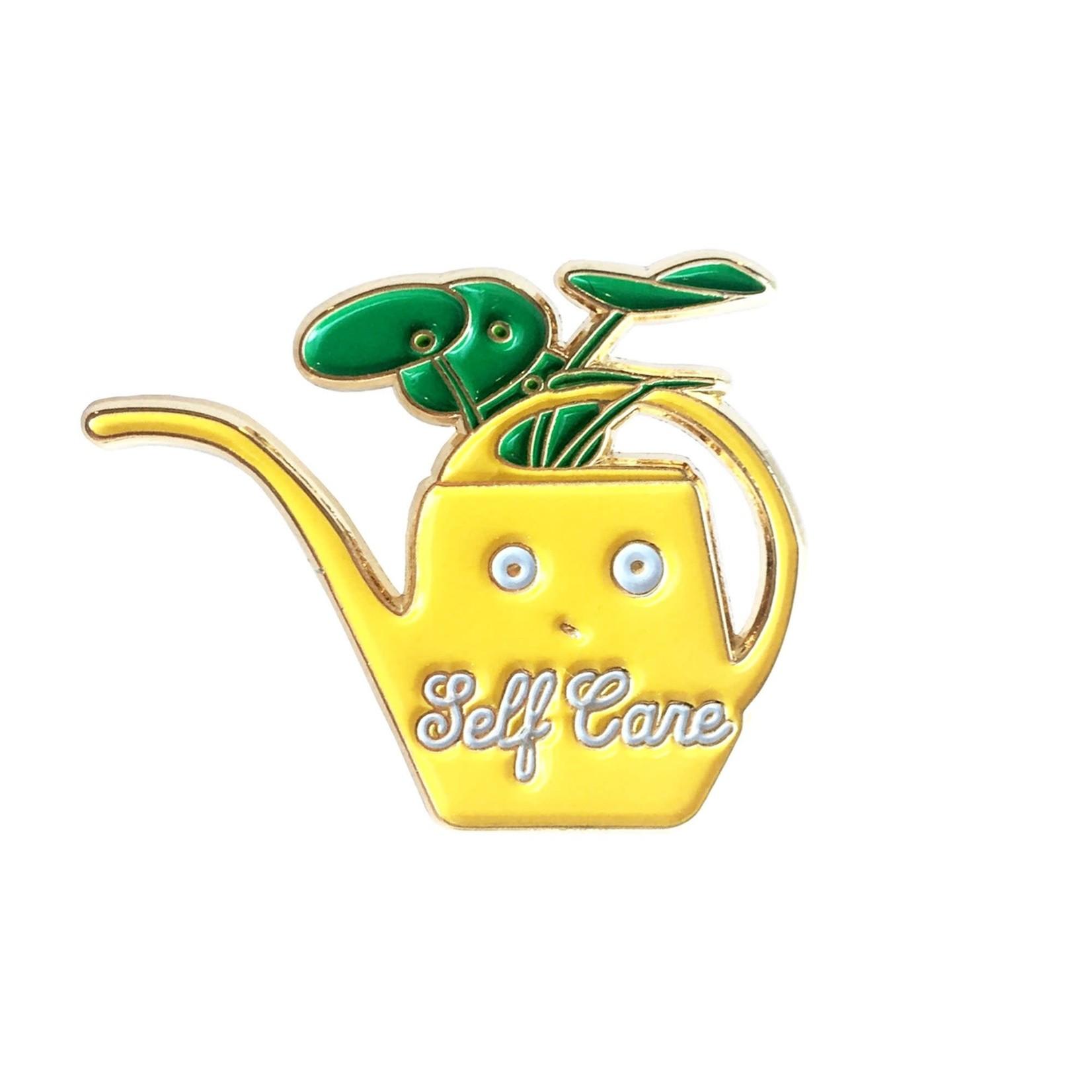 ILOOTPAPERIE Self Care Vintage Yellow Watering Can Enamel Pin