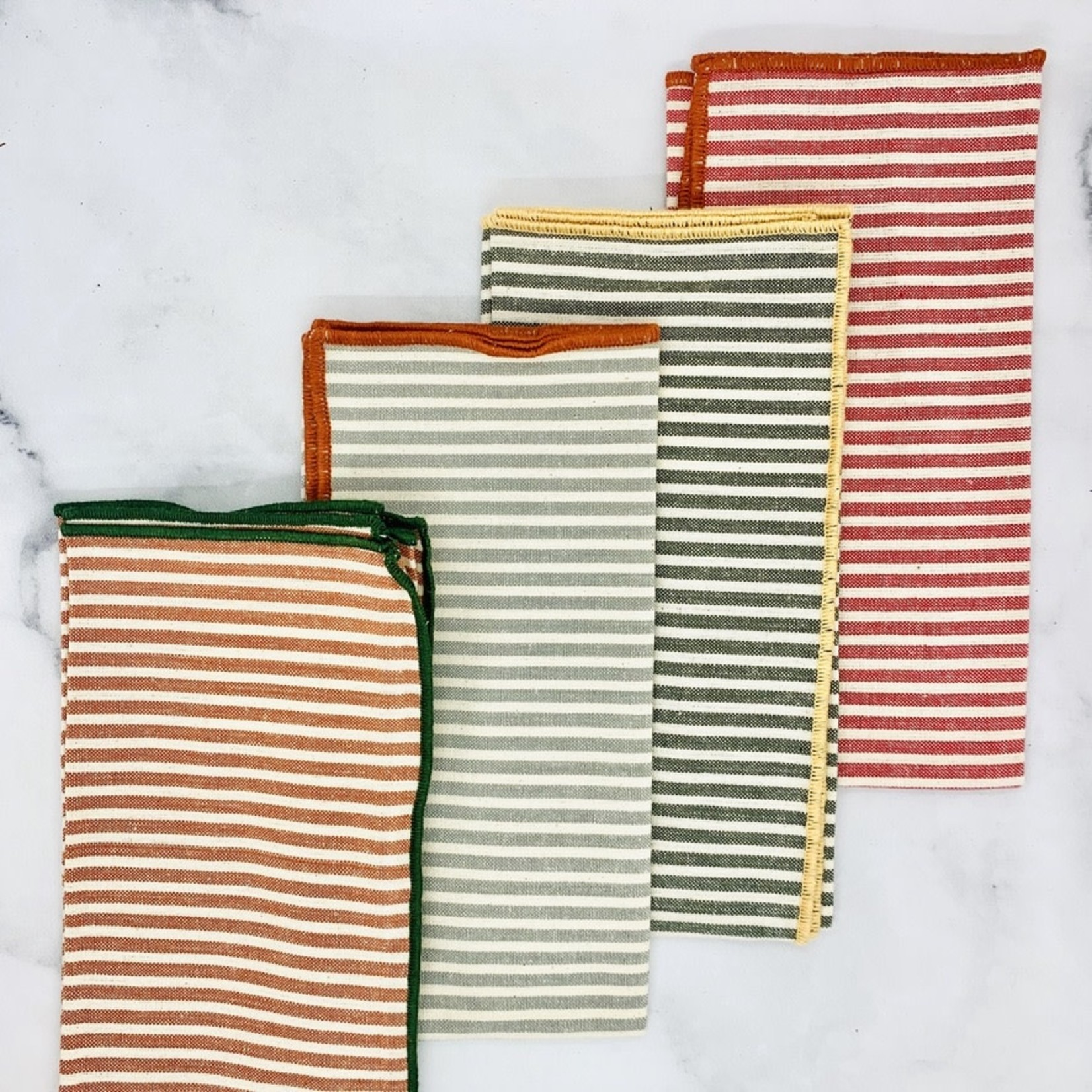 """18"""" Sq Cotton Napkins w/ Stripes and Embroidered Trim"""