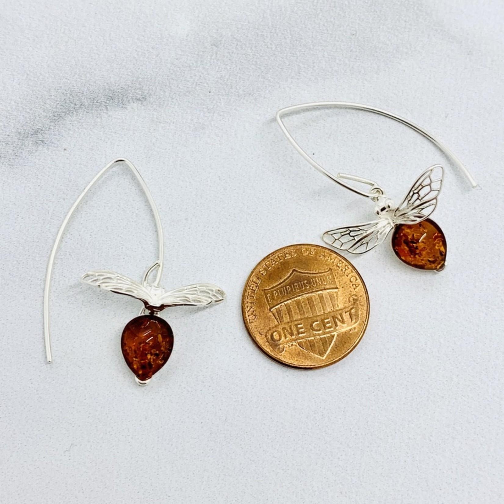 Amber Honeybee Drop Earrings