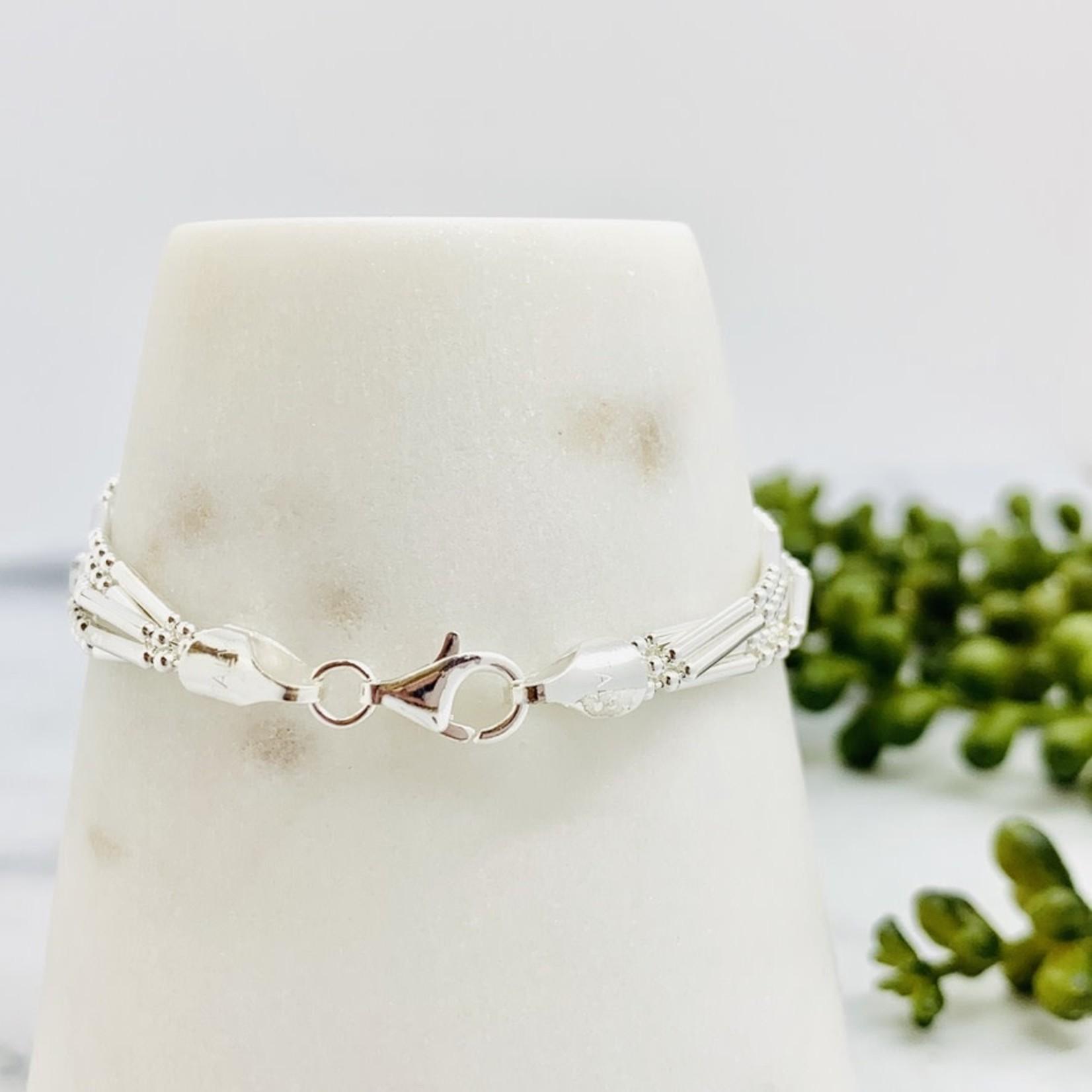 "Sterling silver 7"" 5-Strand, 3+1 Bead chain bracelet"