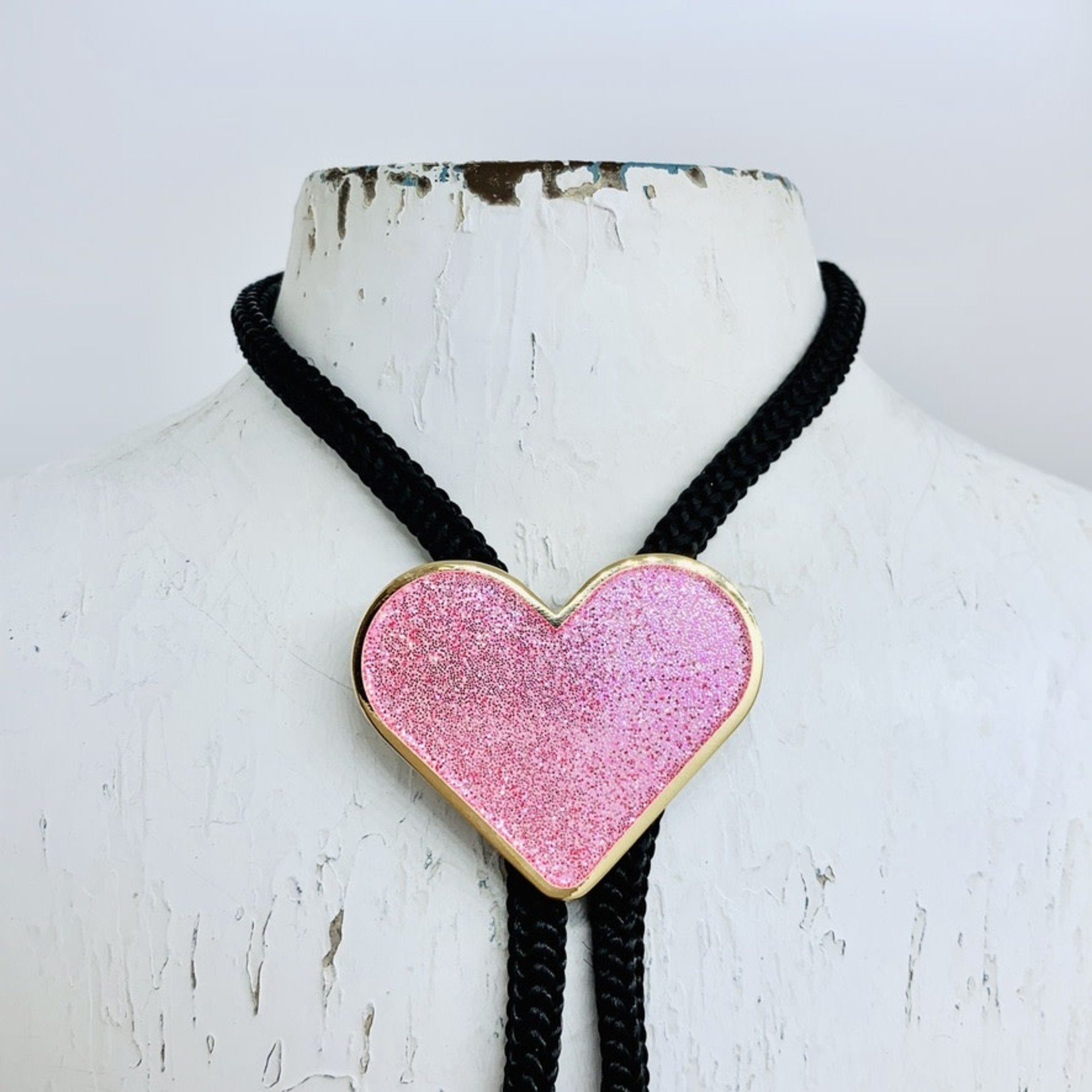 Tiny Deer Studio Glitter Heart Bolo Tie